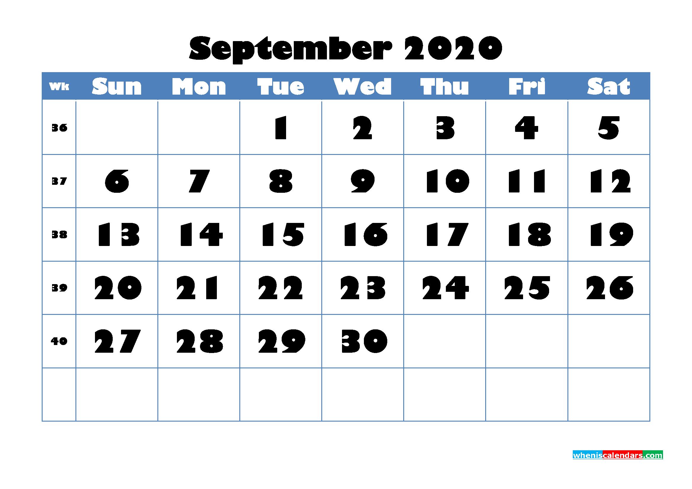 September 2020 Blank Calendar Printable - No.m20b717