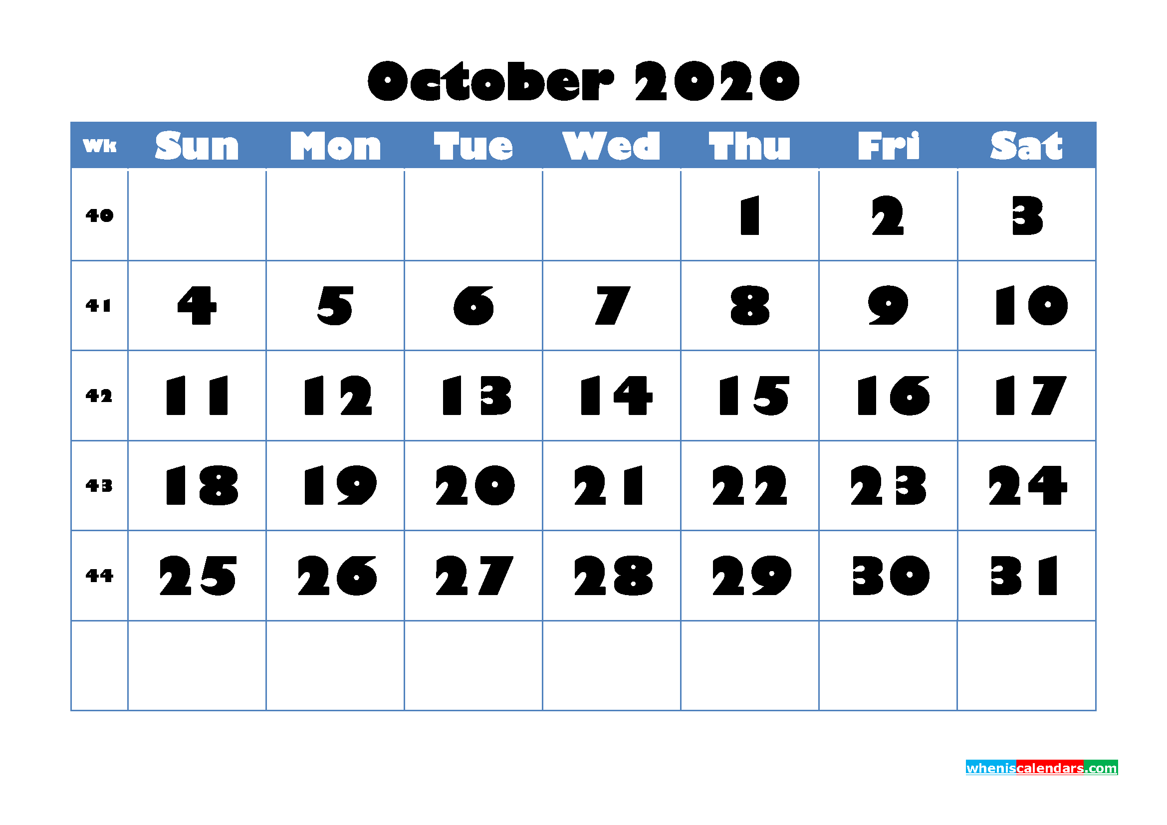 Blank Calendar for October 2020 Printable Word Format