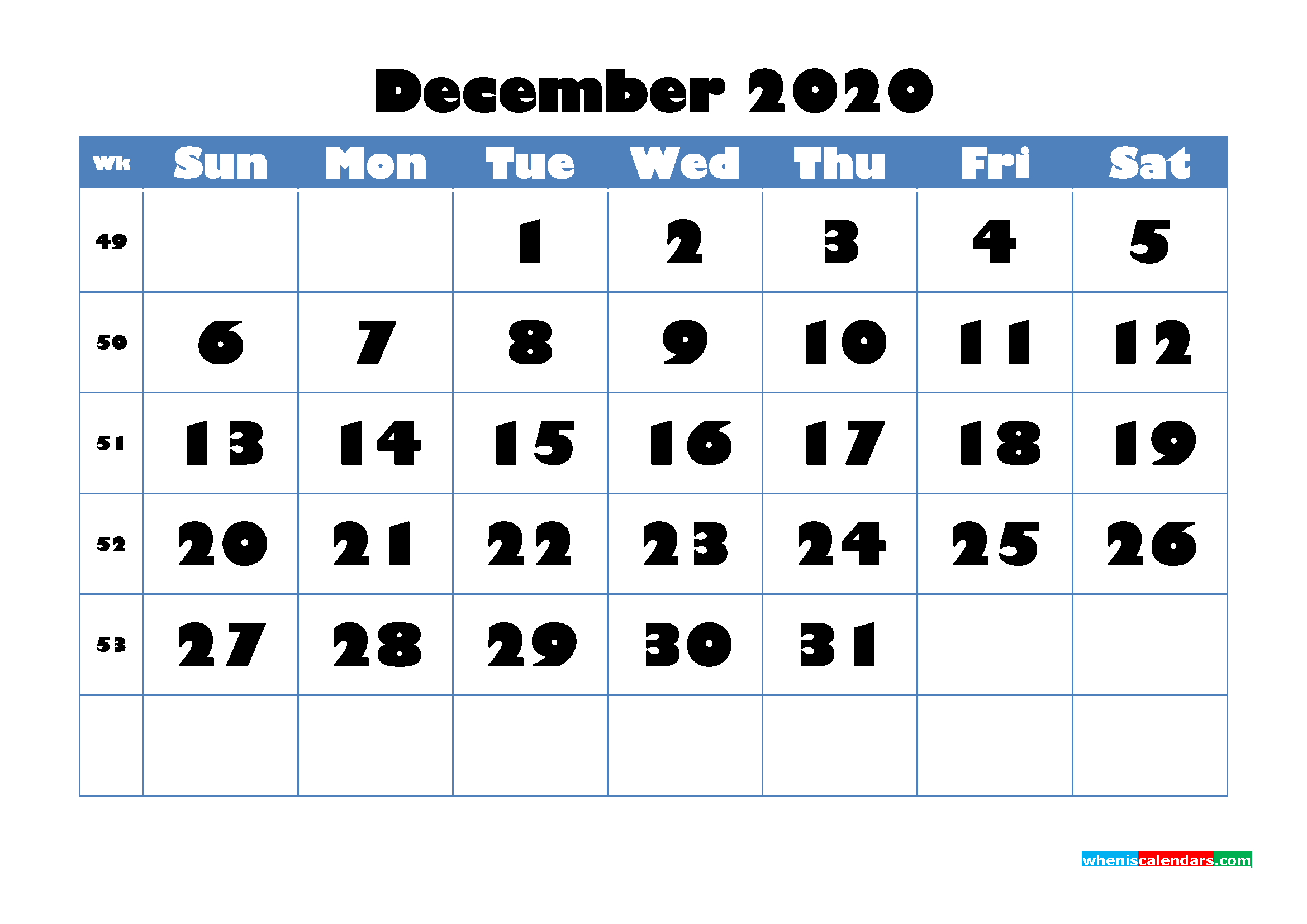 December 2020 Blank Calendar Printable - No.m20b720
