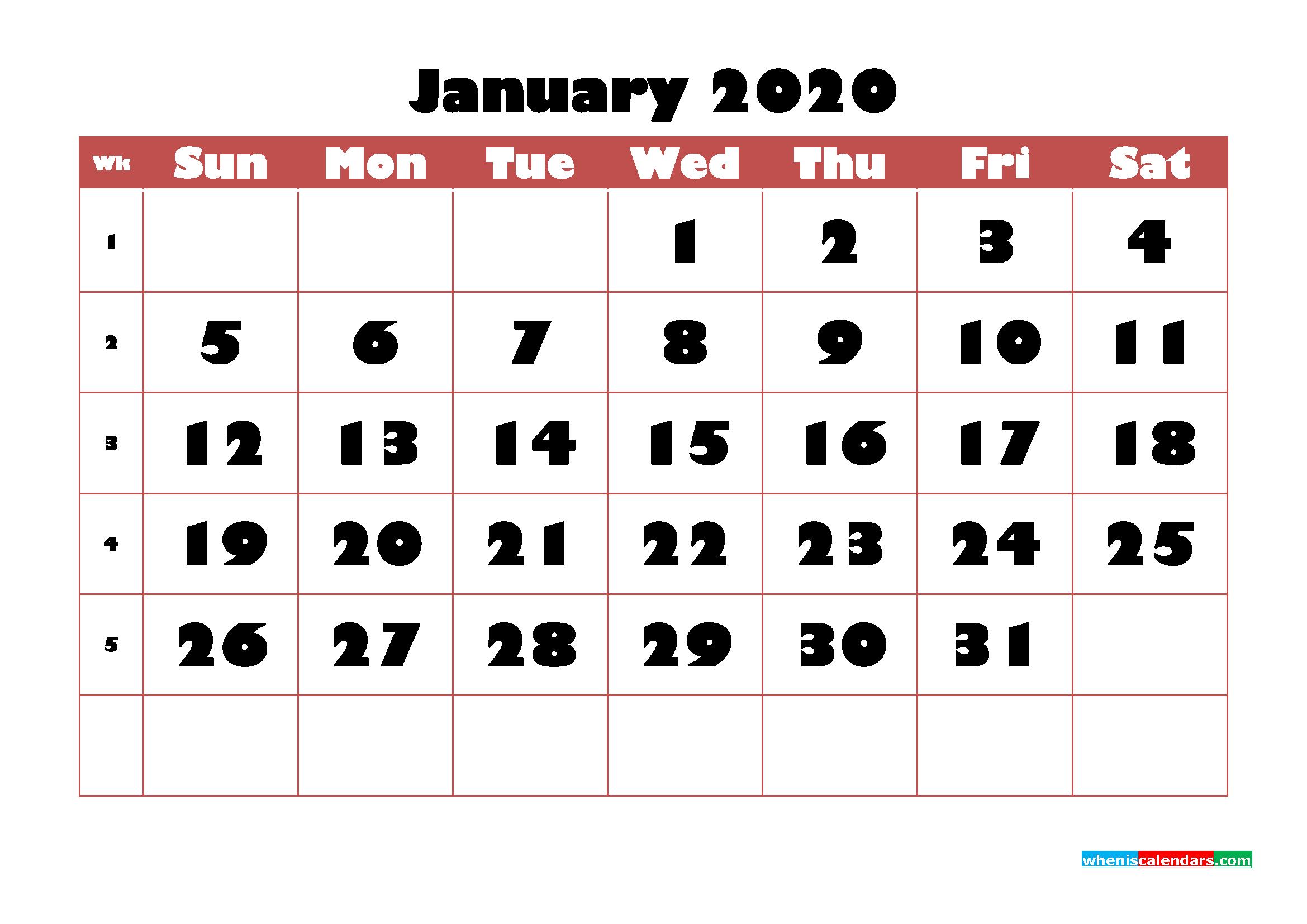 Free Printable Calendar January 2020 PDF, Word - No.m20b721