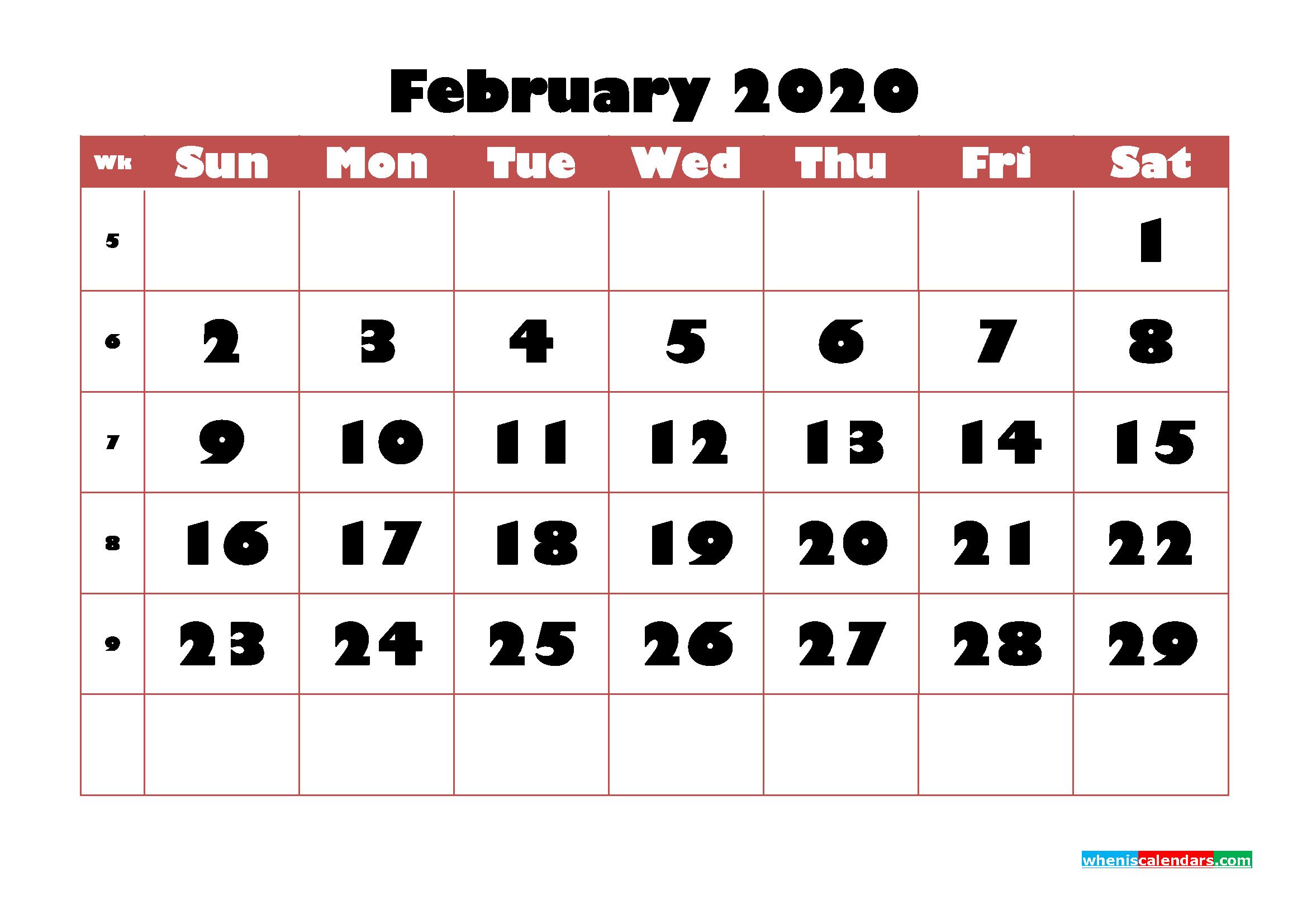 Free Printable Calendar February 2020 PDF, Word - No.m20b722