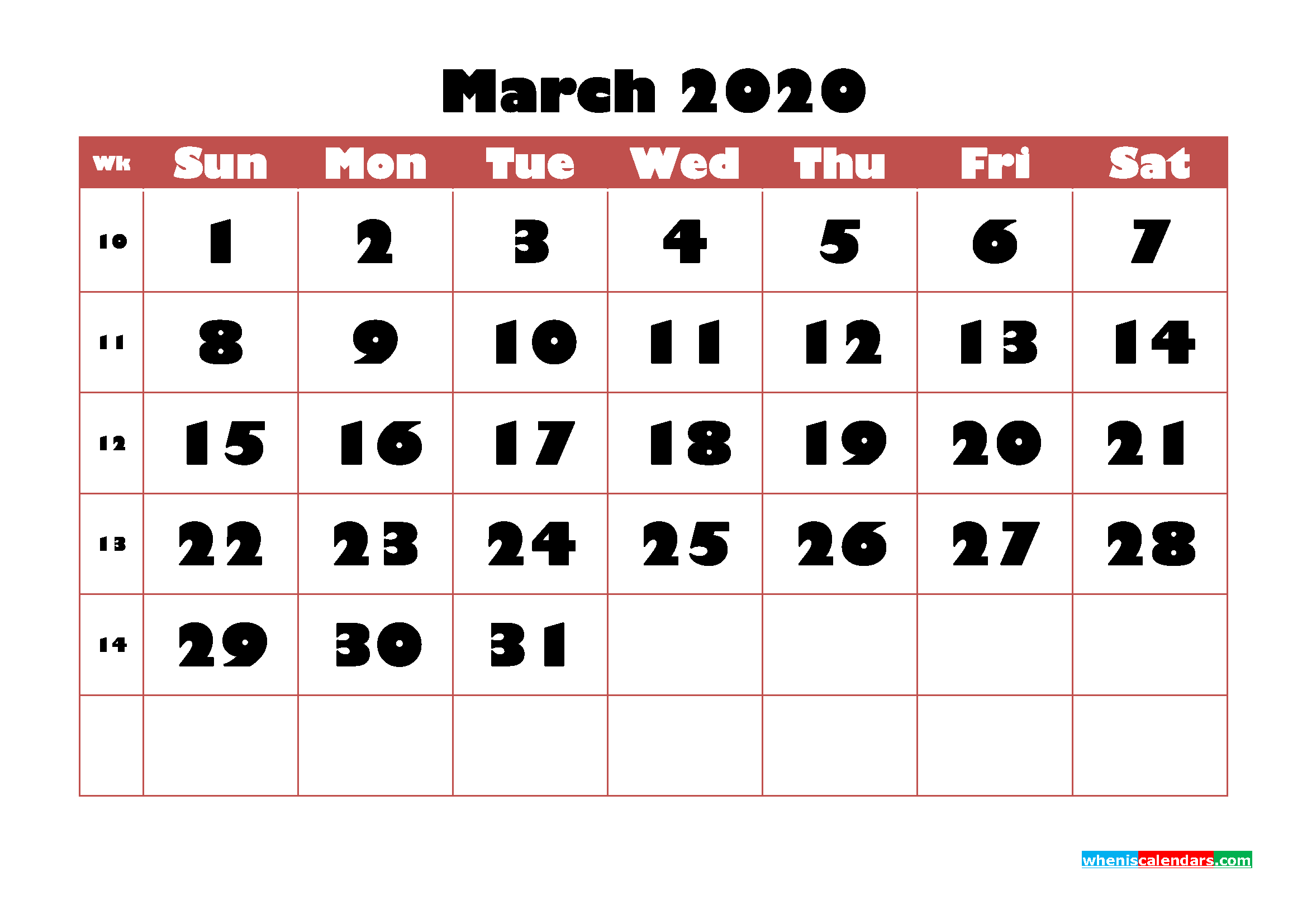March Blank Calendar 2020 Printable Word, PDF, PNG