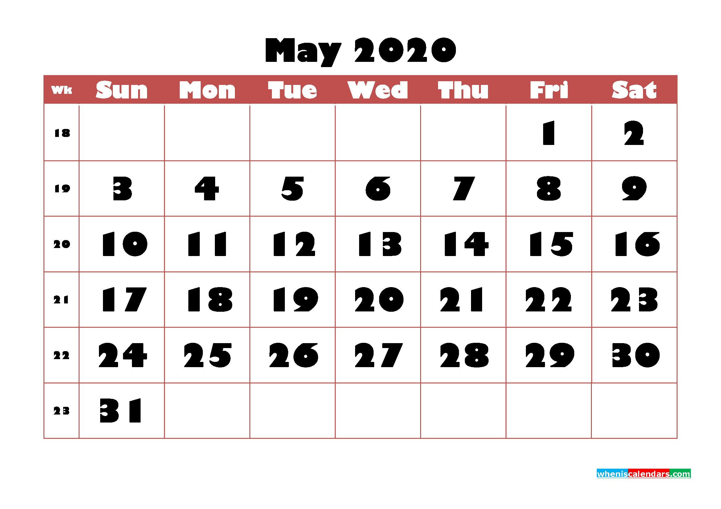 Free Printable Calendar May 2020 PDF, Word - No.m20b725