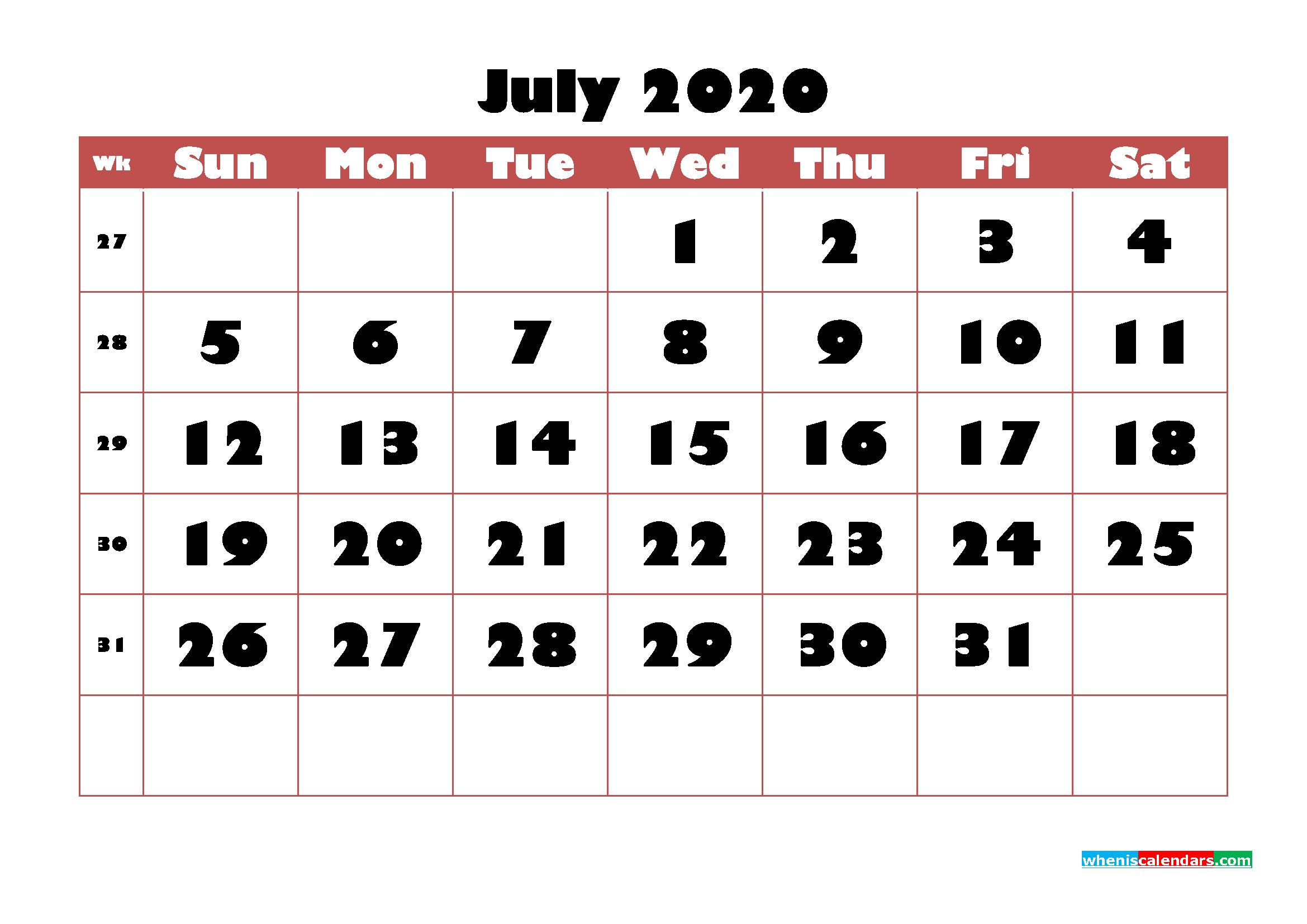 Free Printable Calendar July 2020 PDF, Word - No.m20b727