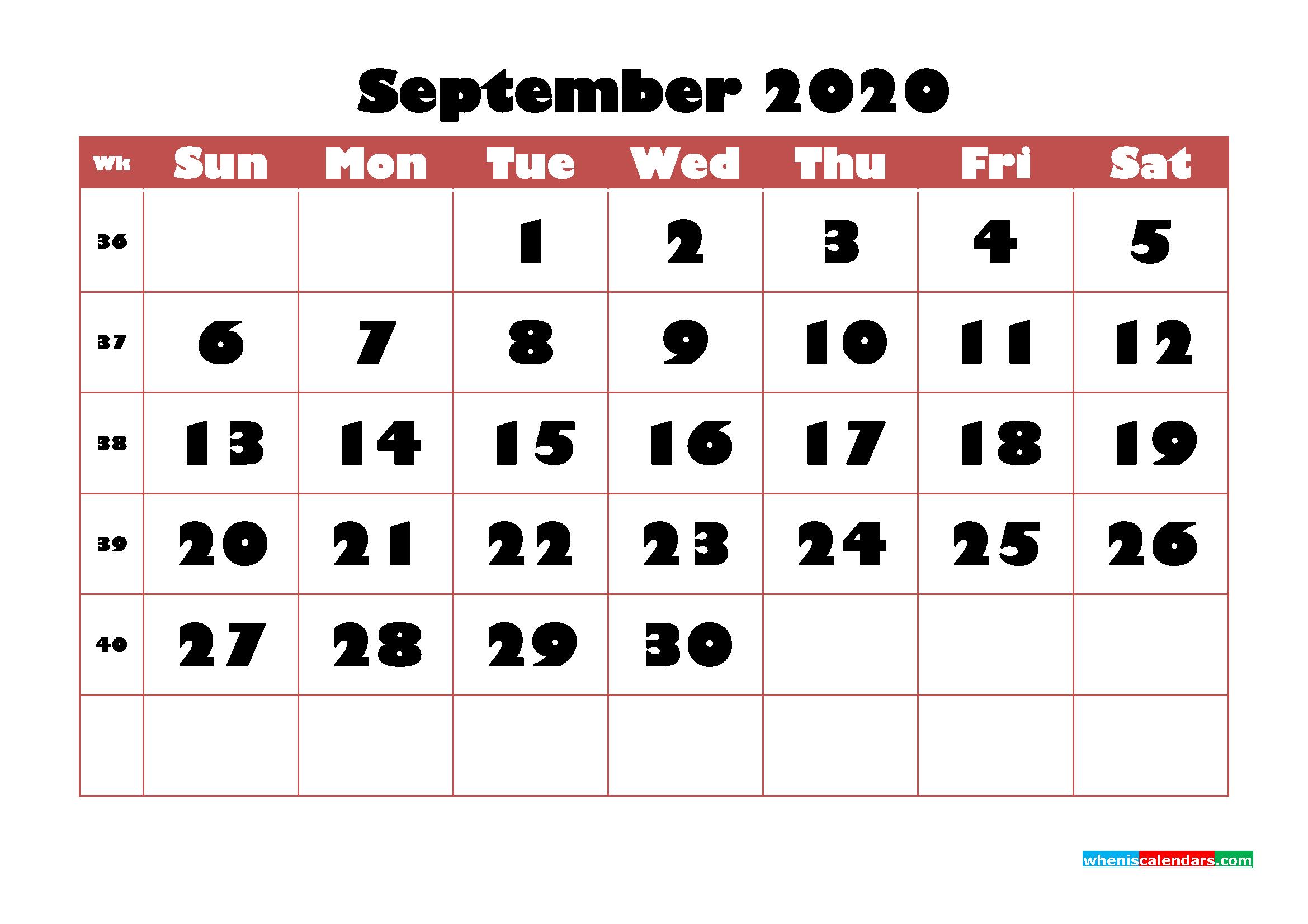 Free Printable Calendar September 2020 PDF, Word - No.m20b729