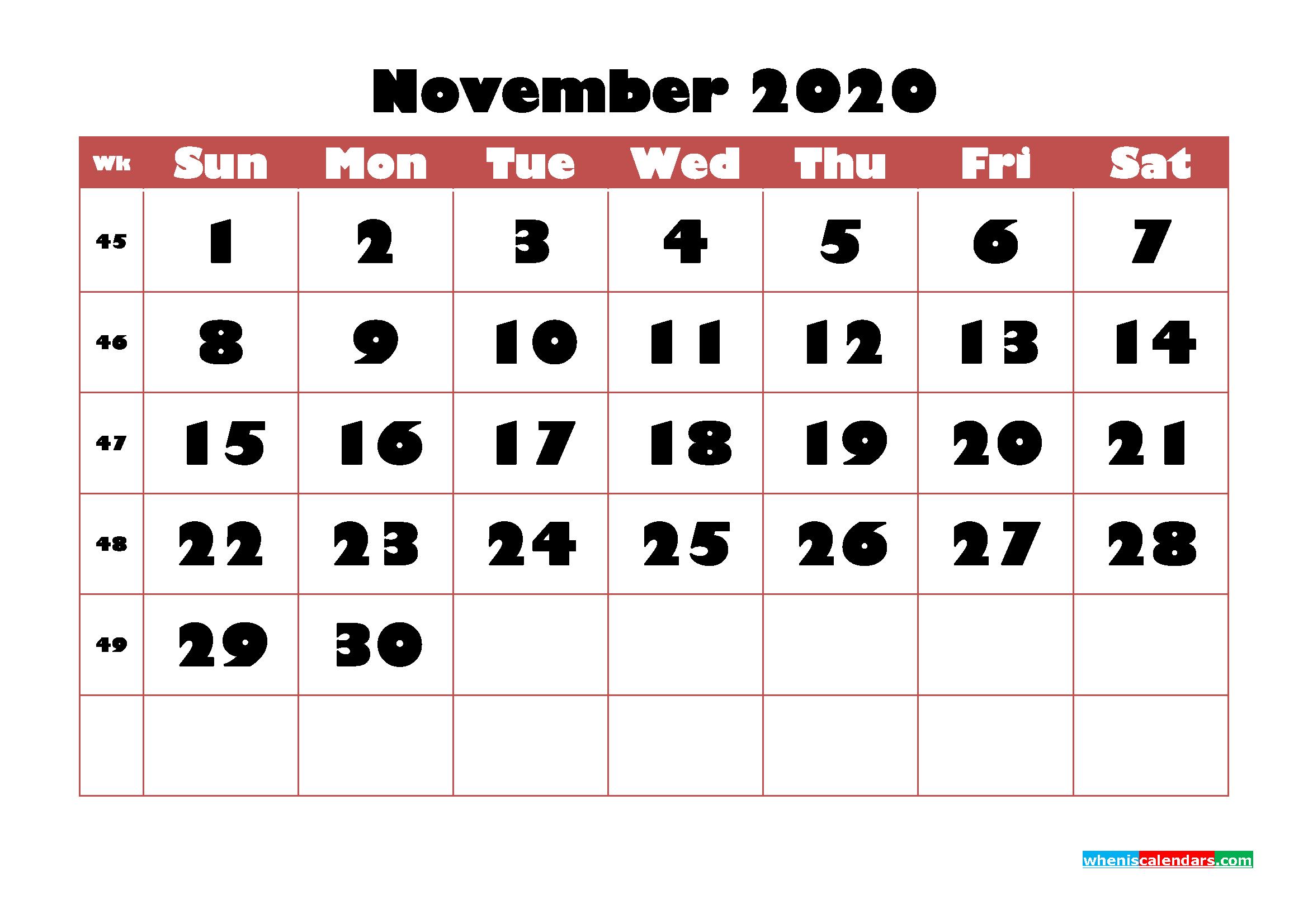 Free Printable Calendar November 2020 PDF, Word - No.m20b731