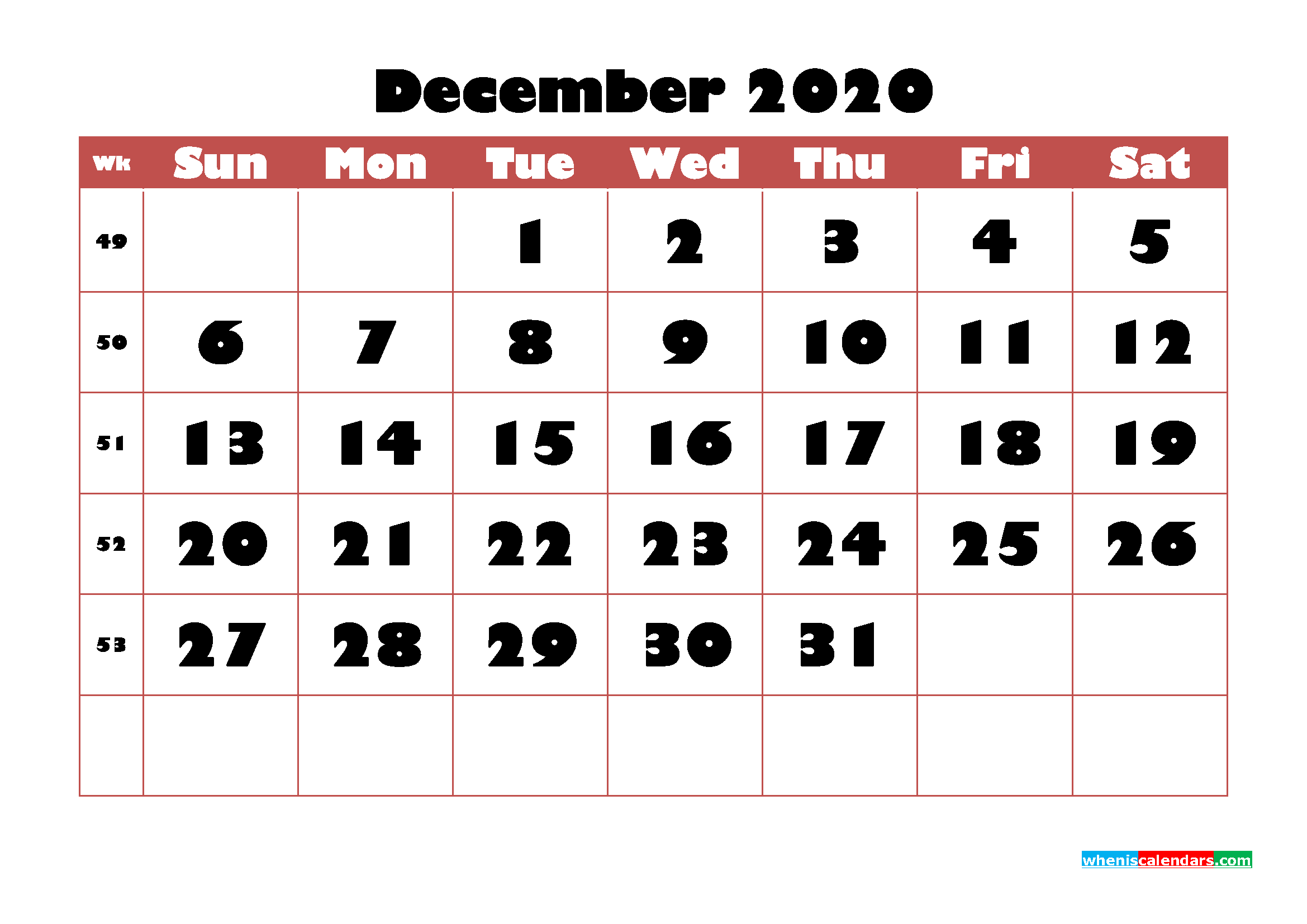Free Printable Calendar December 2020 PDF, Word - No.m20b732