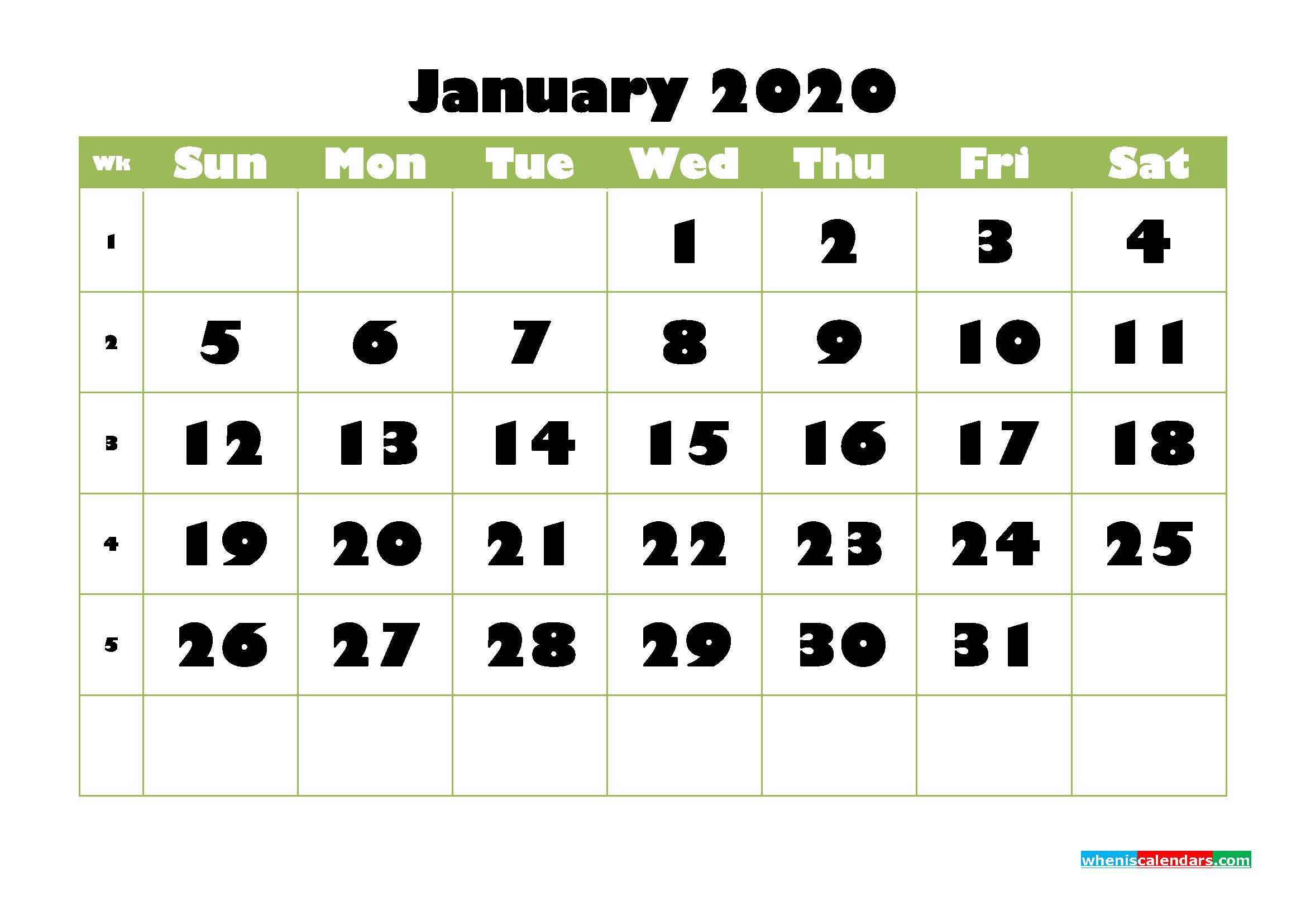 January Printable Calendar 2020 PDF, Word - No.m20b733