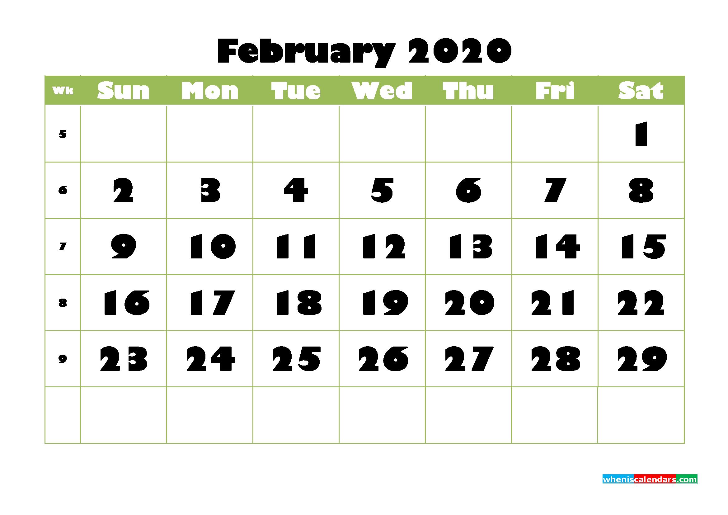 February Printable Calendar 2020 PDF, Word - No.m20b734