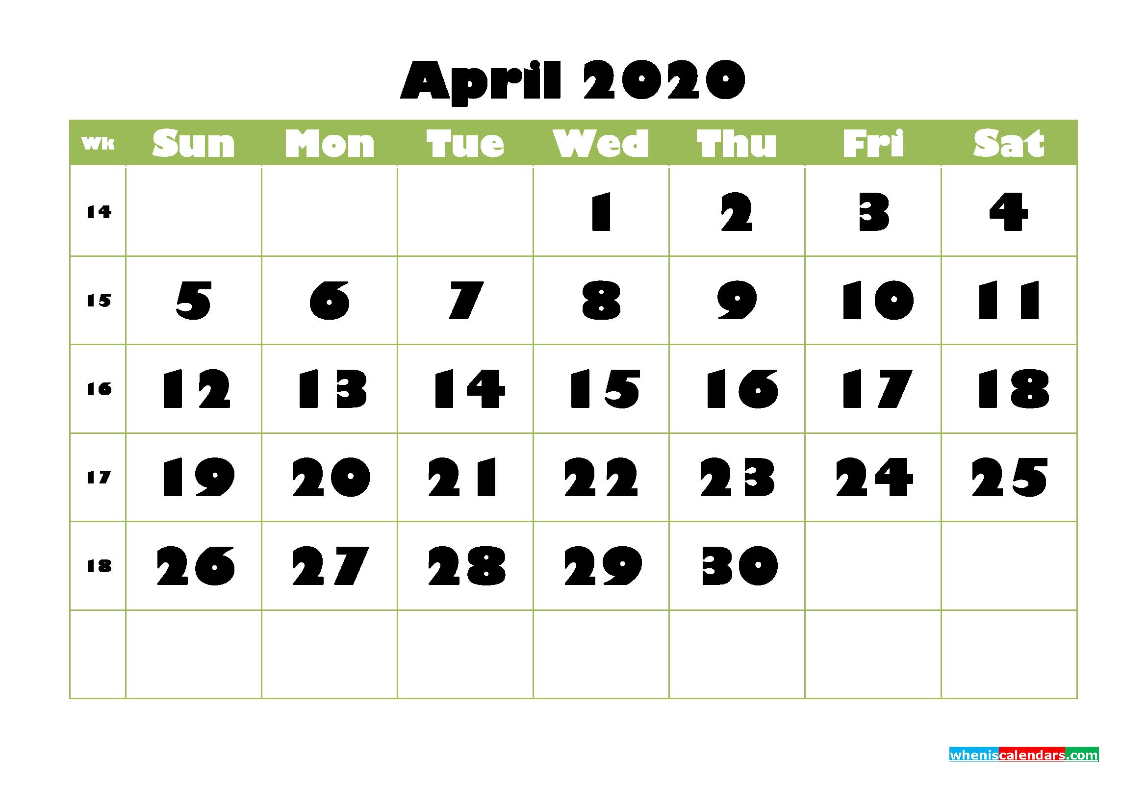 April Printable Calendar 2020 PDF, Word - No.m20b736