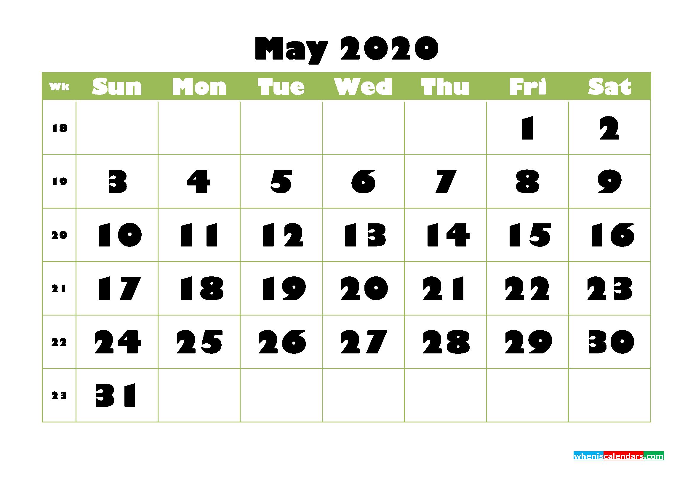 May Printable Calendar 2020 PDF, Word - No.m20b737