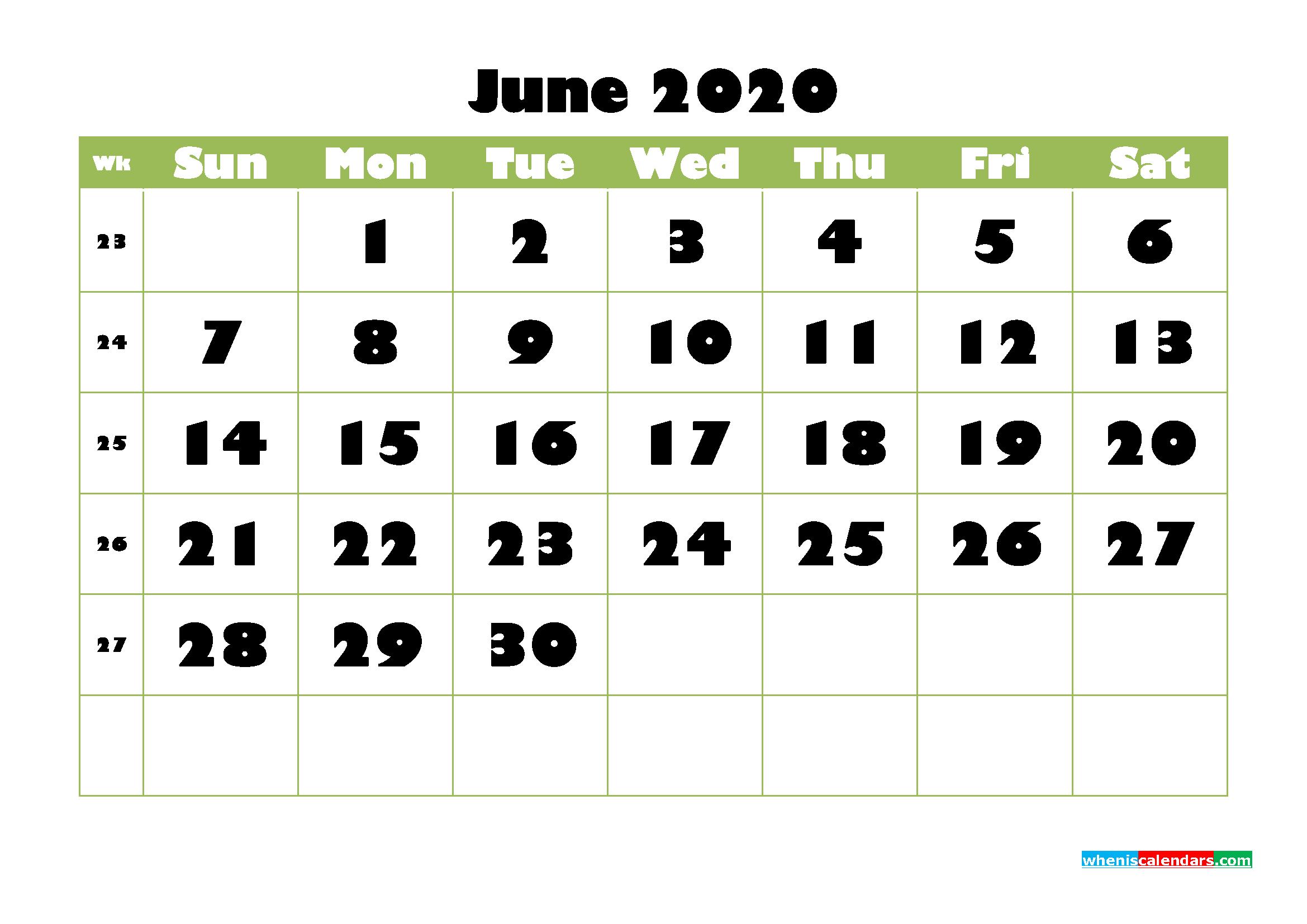 June Printable Calendar 2020 PDF, Word - No.m20b738