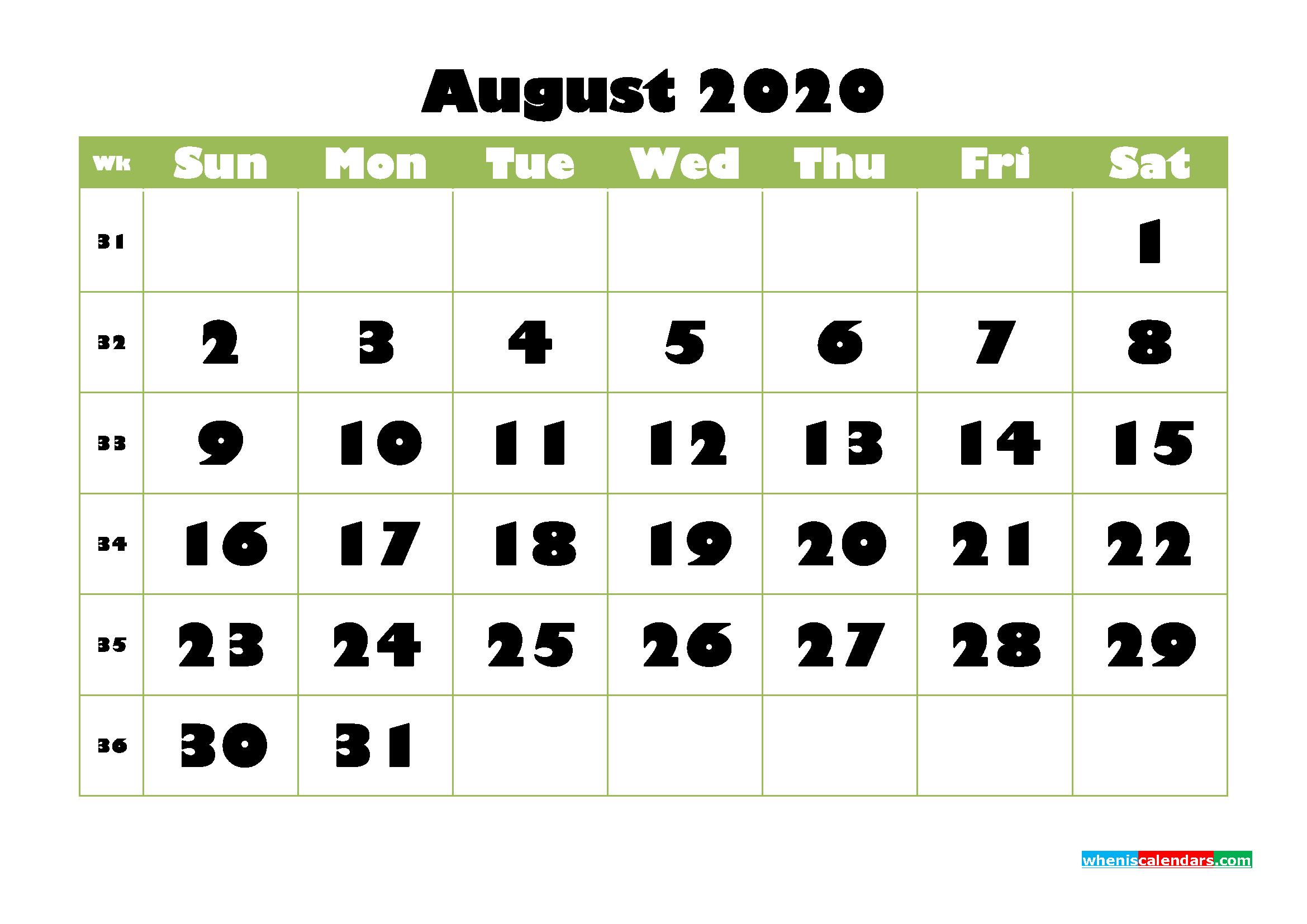 August Printable Calendar 2020 PDF, Word - No.m20b740