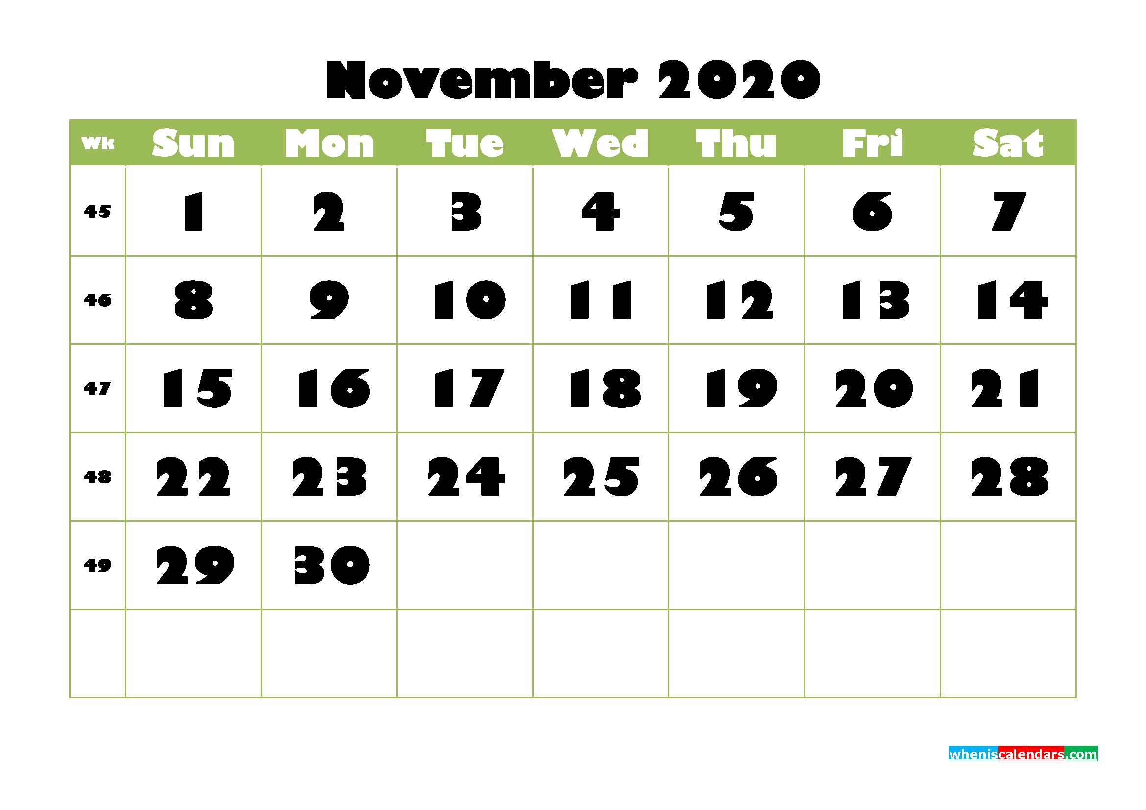 November Printable Calendar 2020 PDF, Word - No.m20b743