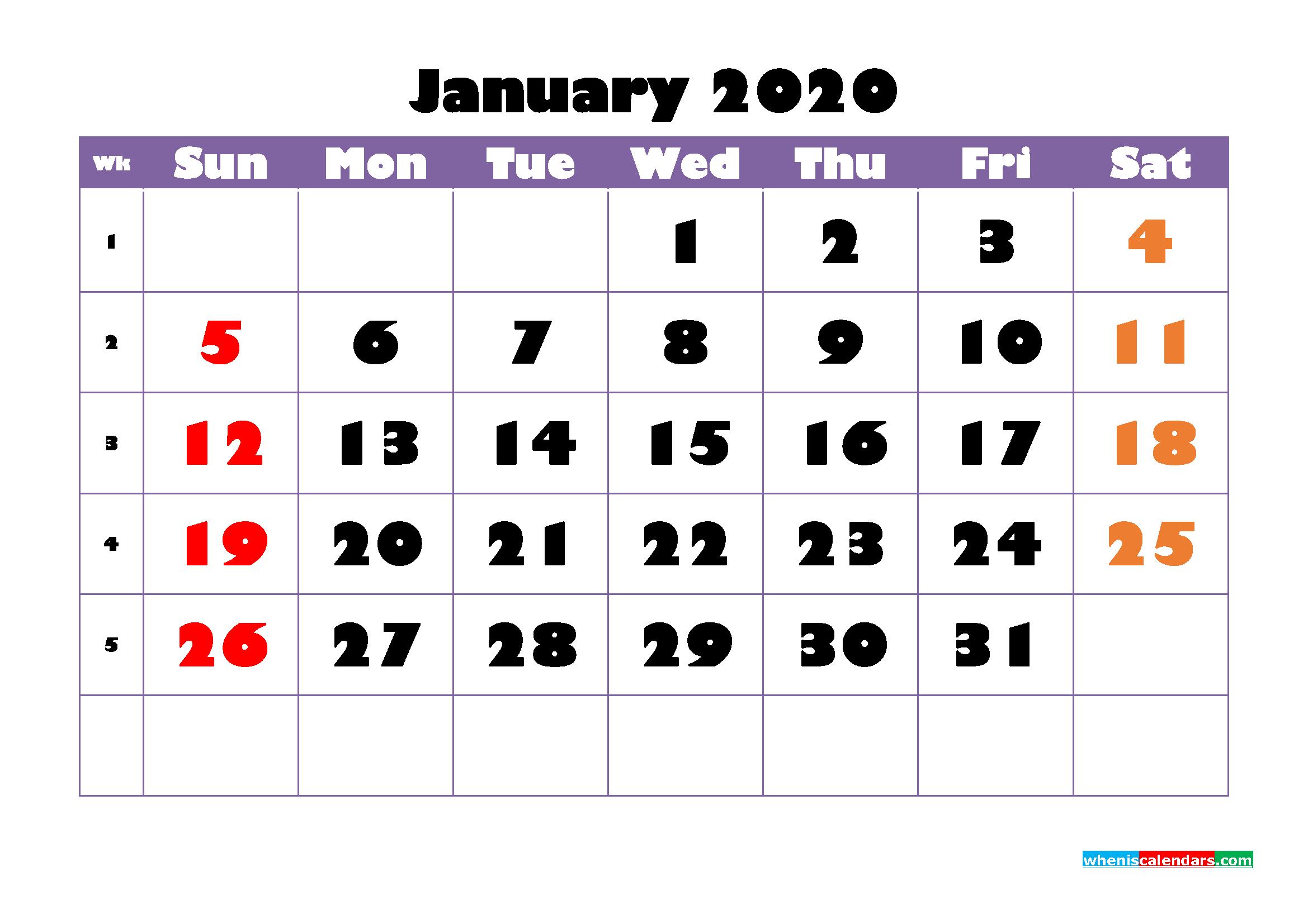 Free Printable January 2020 Calendar - No.m20b745