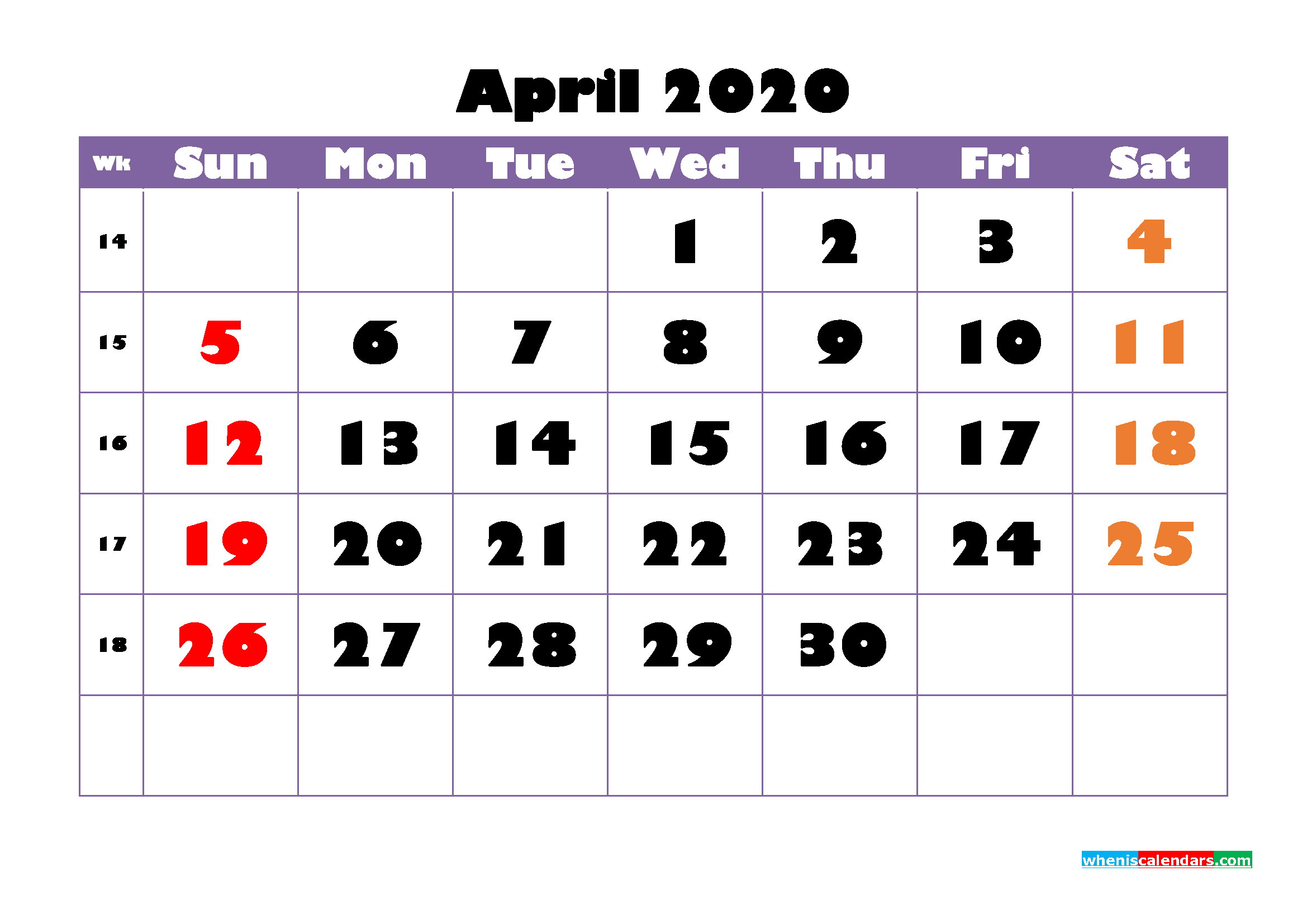 Free Printable April 2020 Calendar - No.m20b748