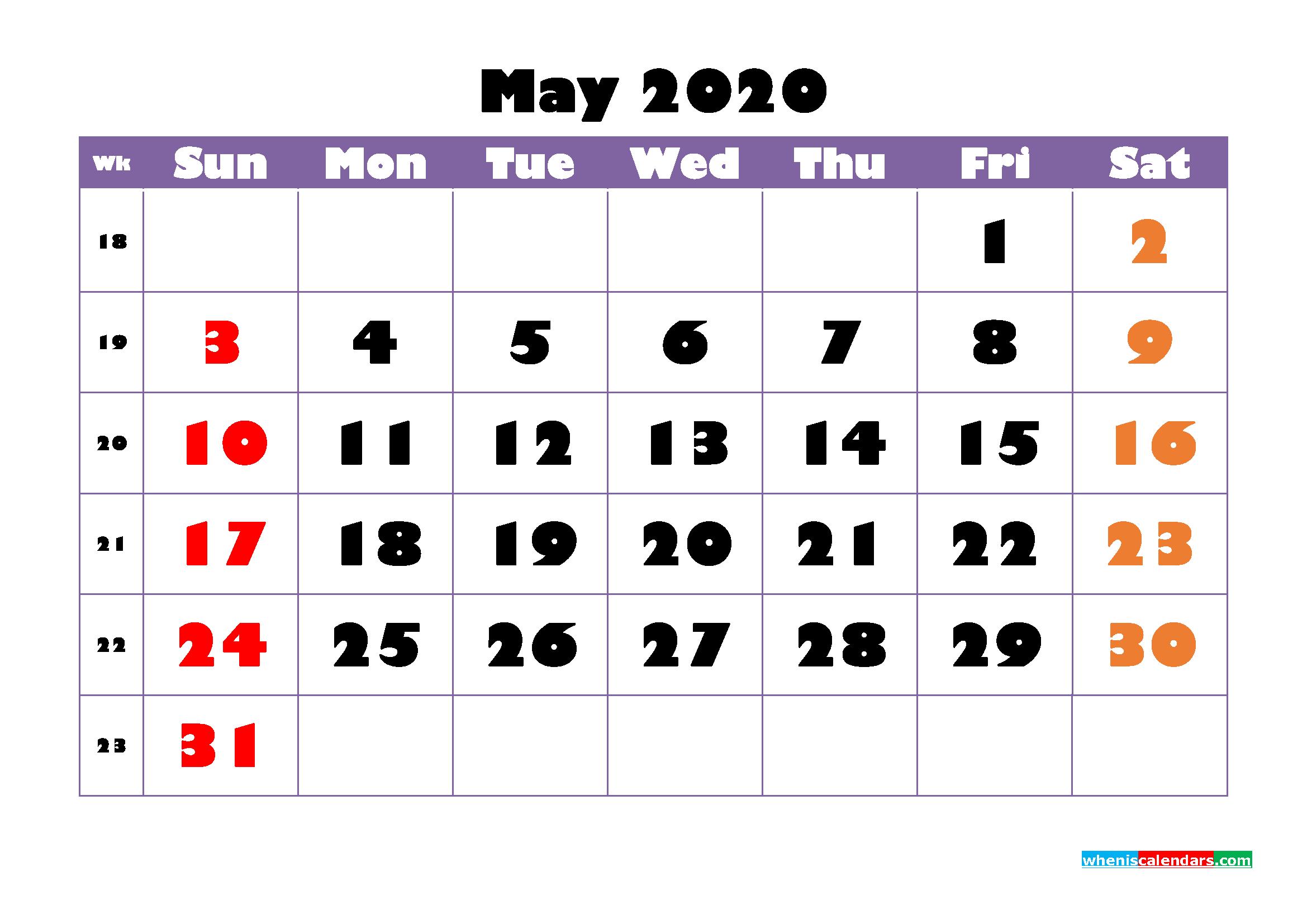 Free Printable May 2020 Calendar - No.m20b749