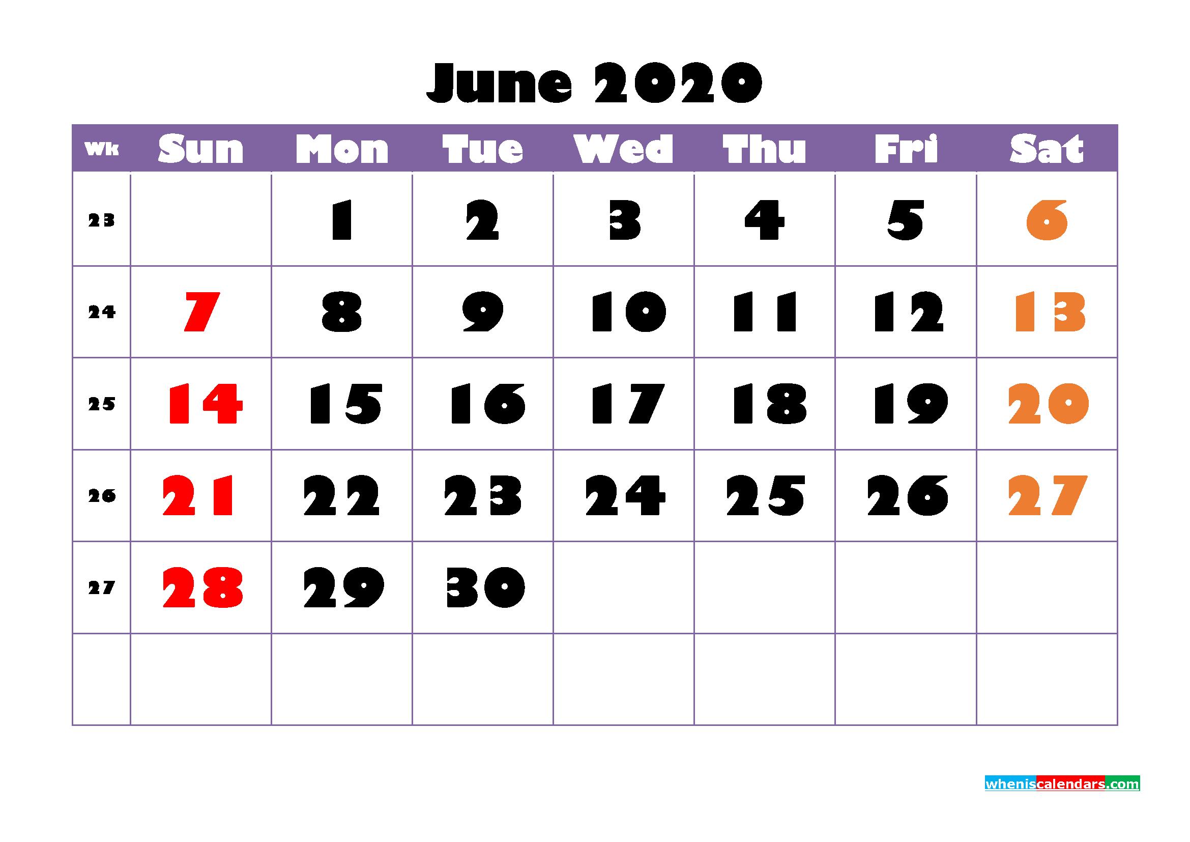 Free Printable June 2020 Calendar - No.m20b750