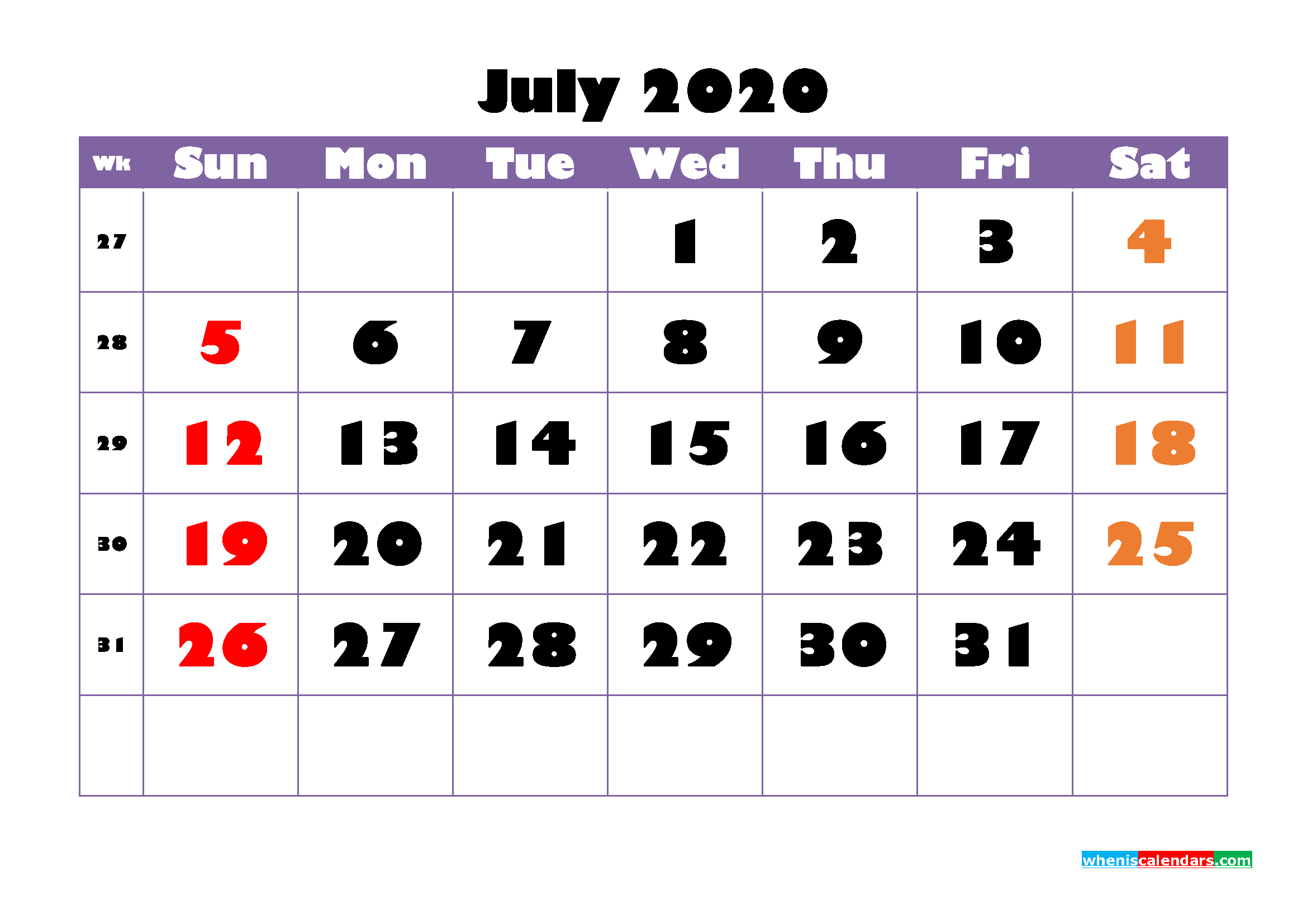 Printable Monthly Calendar 2020 July with Week Numbers