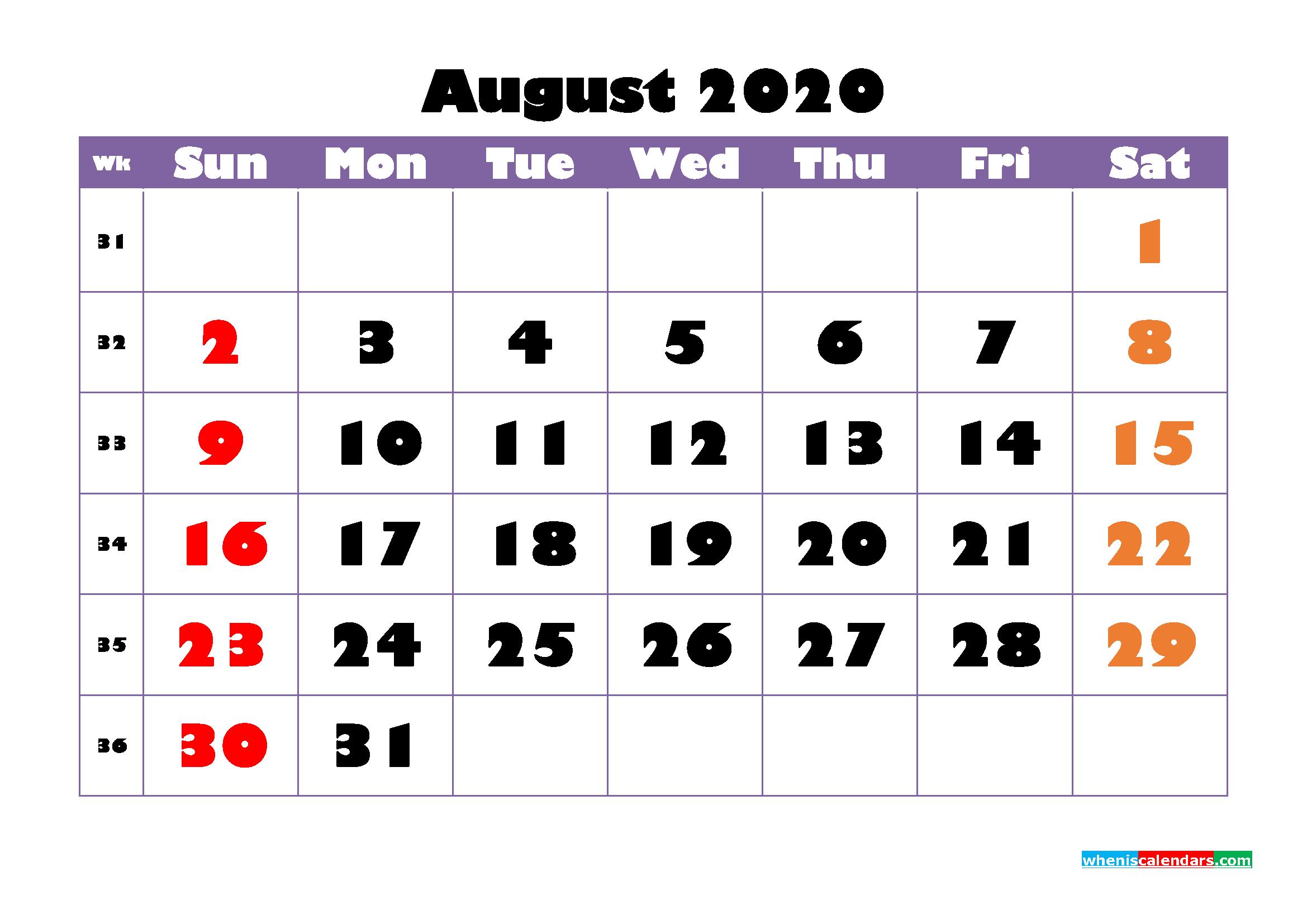 Free Printable August 2020 Calendar - No.m20b752