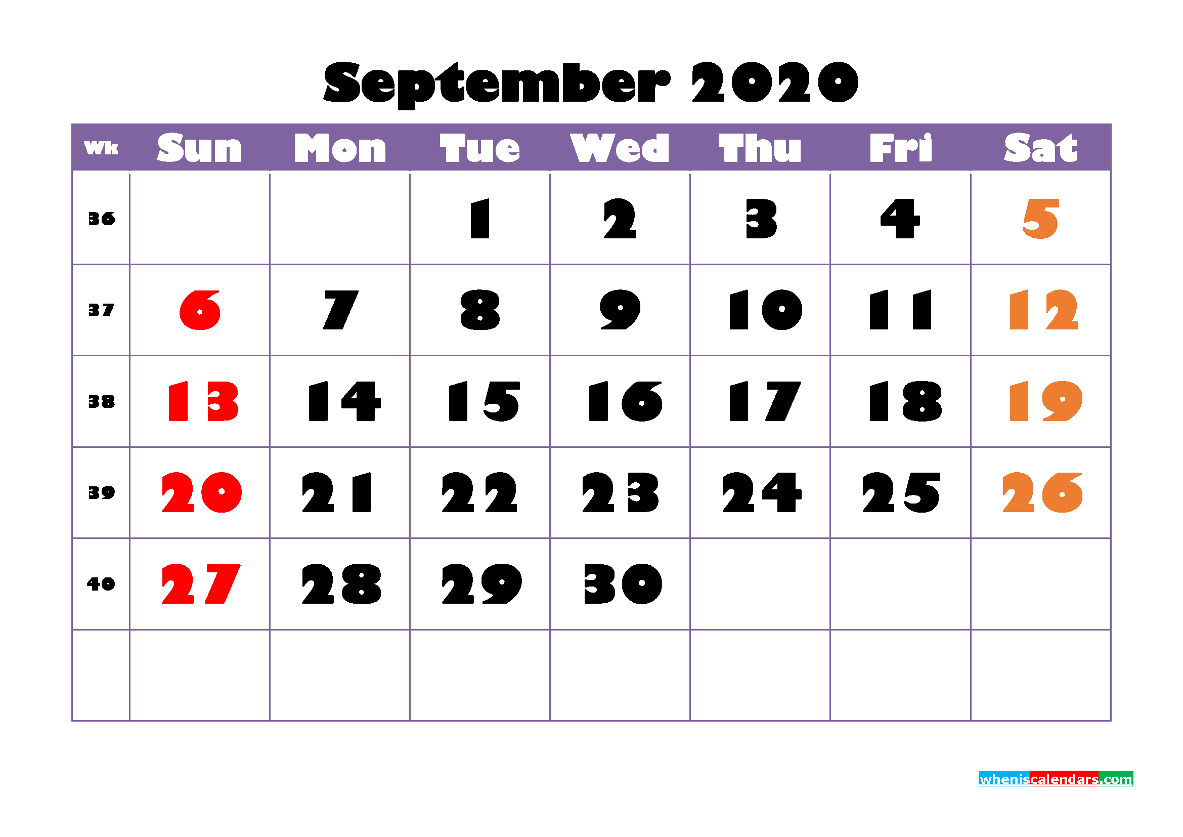 Free Printable September 2020 Calendar - No.m20b753
