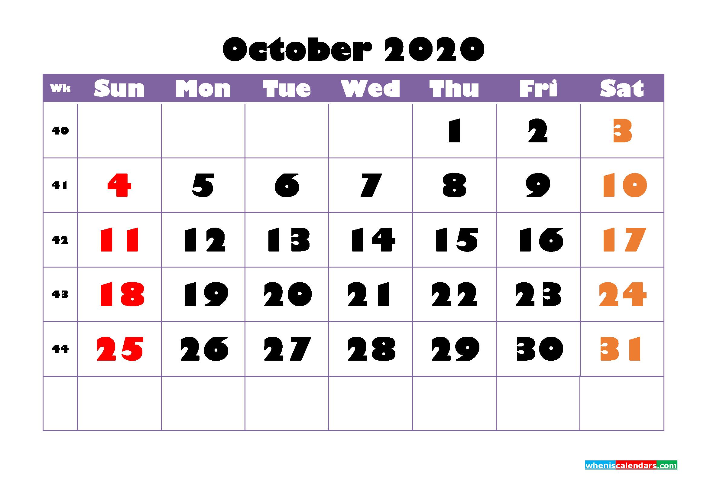 Free Printable October 2020 Calendar - No.m20b754