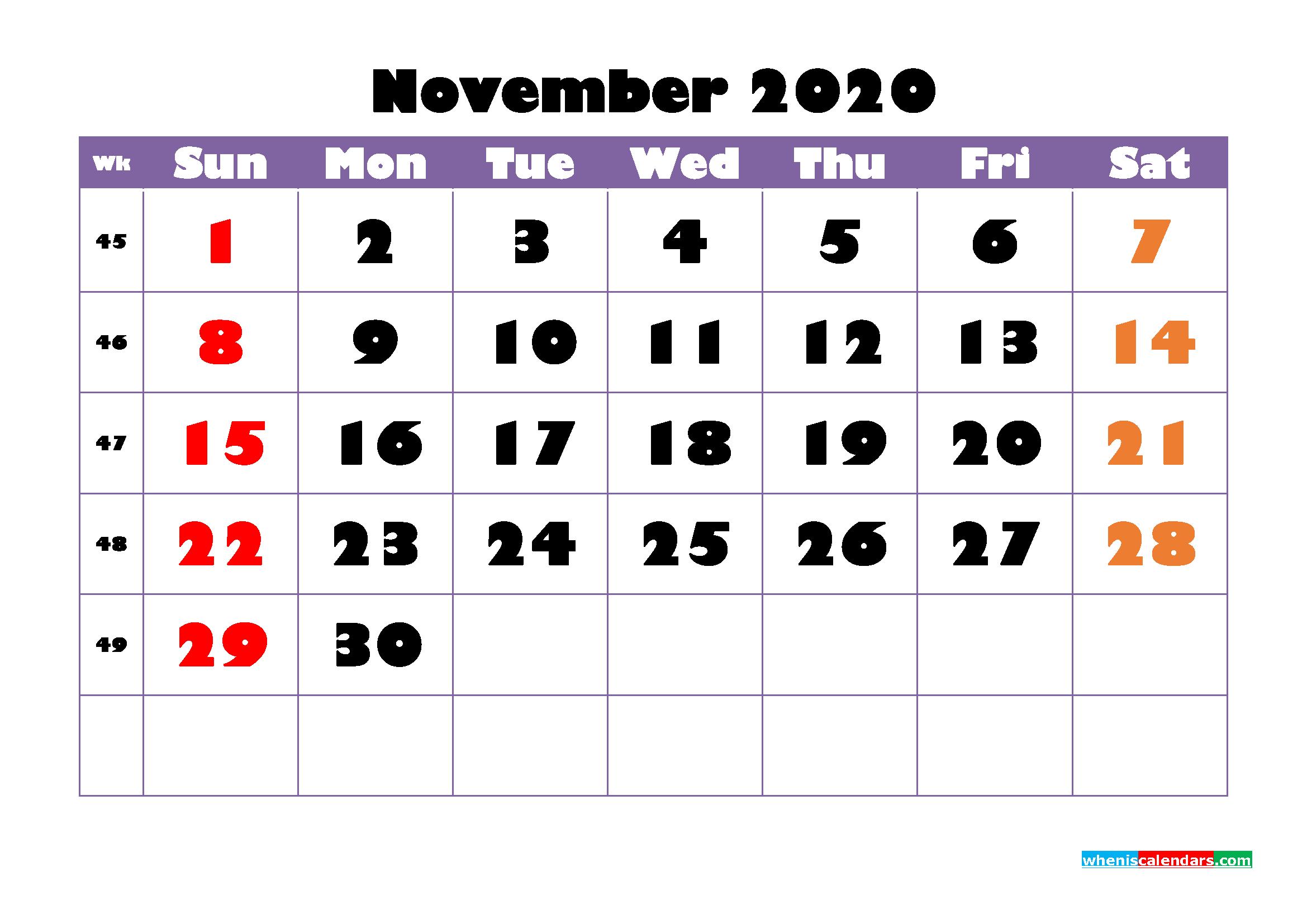 Free Printable November 2020 Calendar - No.m20b755