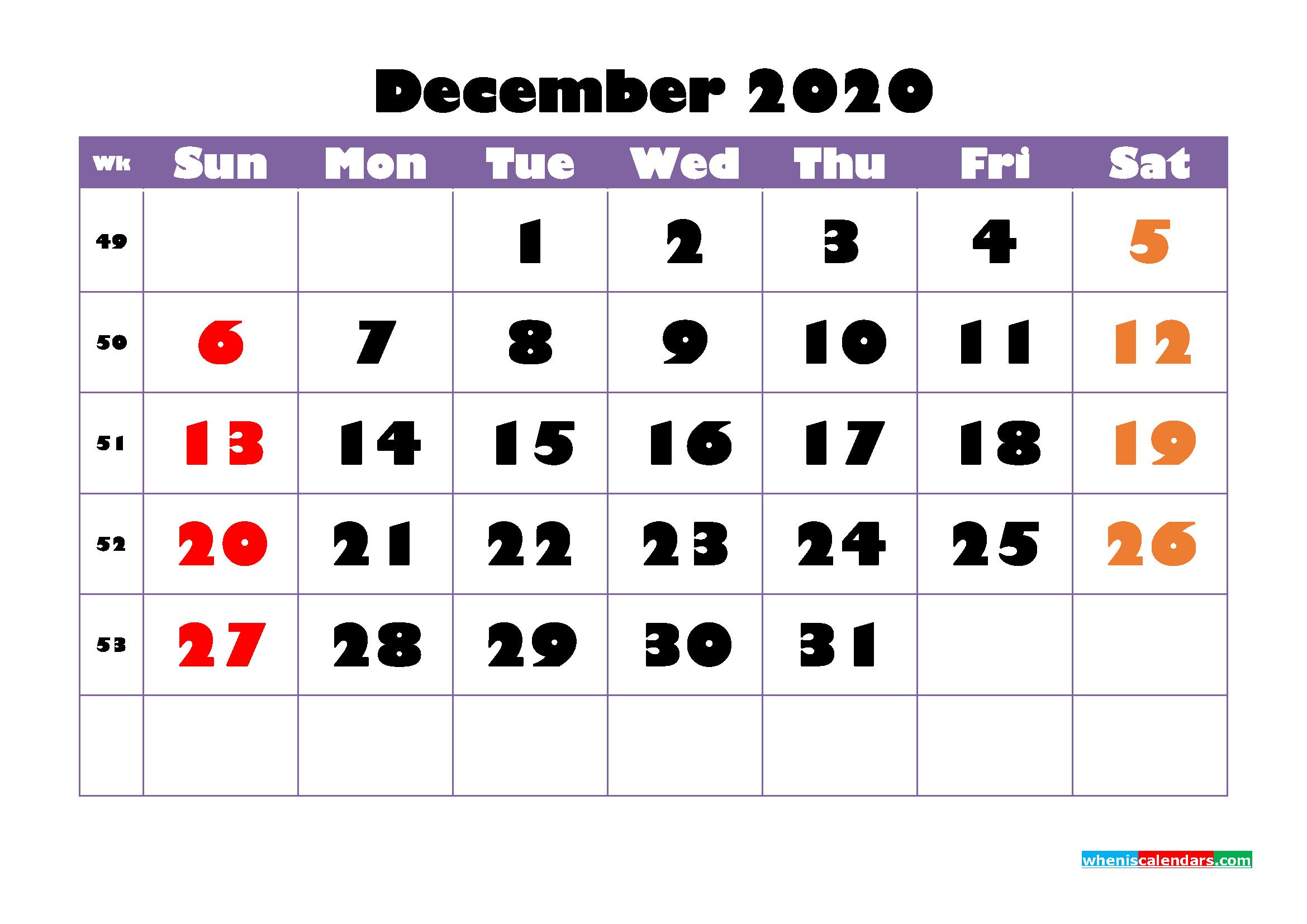 Free Printable December 2020 Calendar - No.m20b756