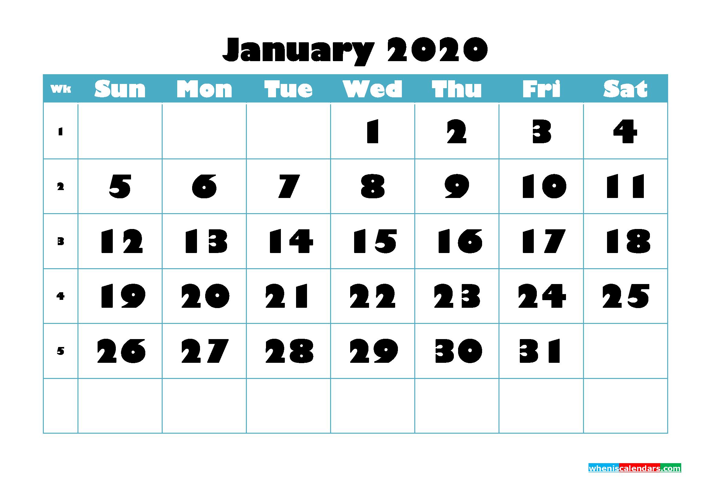 Free Blank Calendar January 2020 Printable - No.m20b757