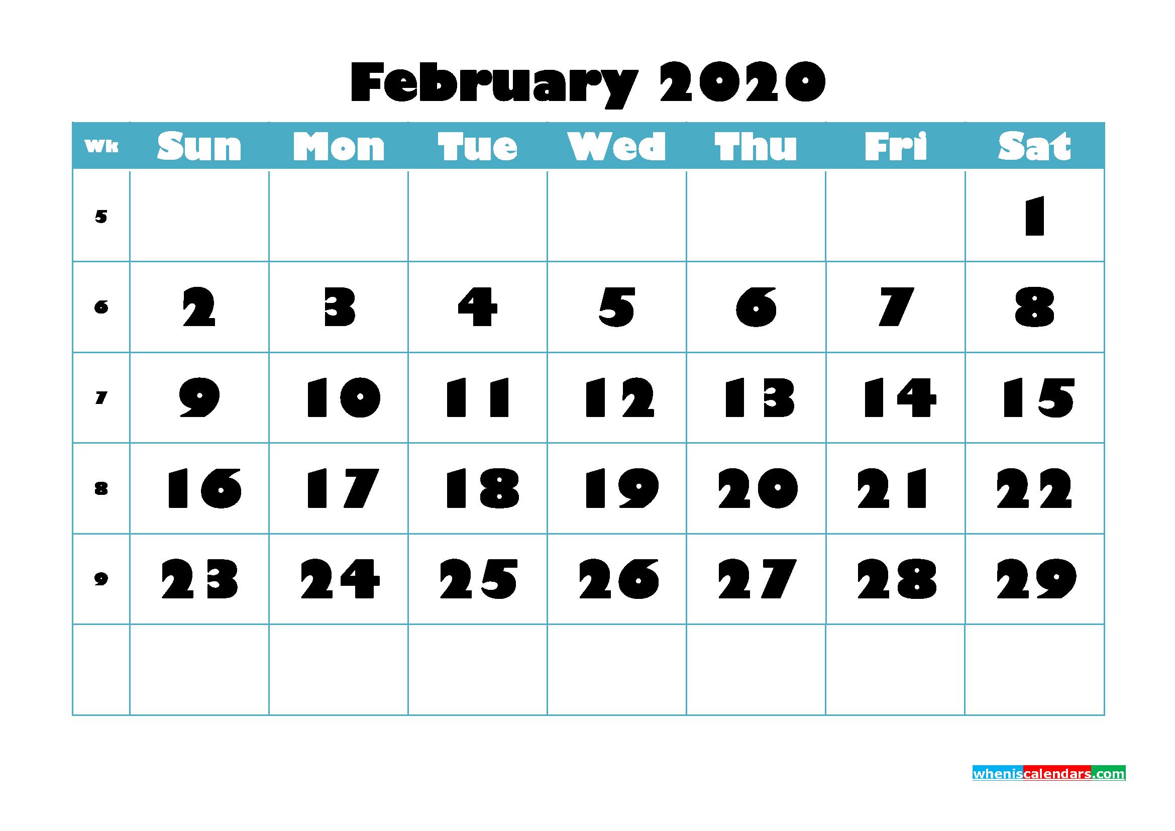 Free Blank Calendar February 2020 Printable - No.m20b758