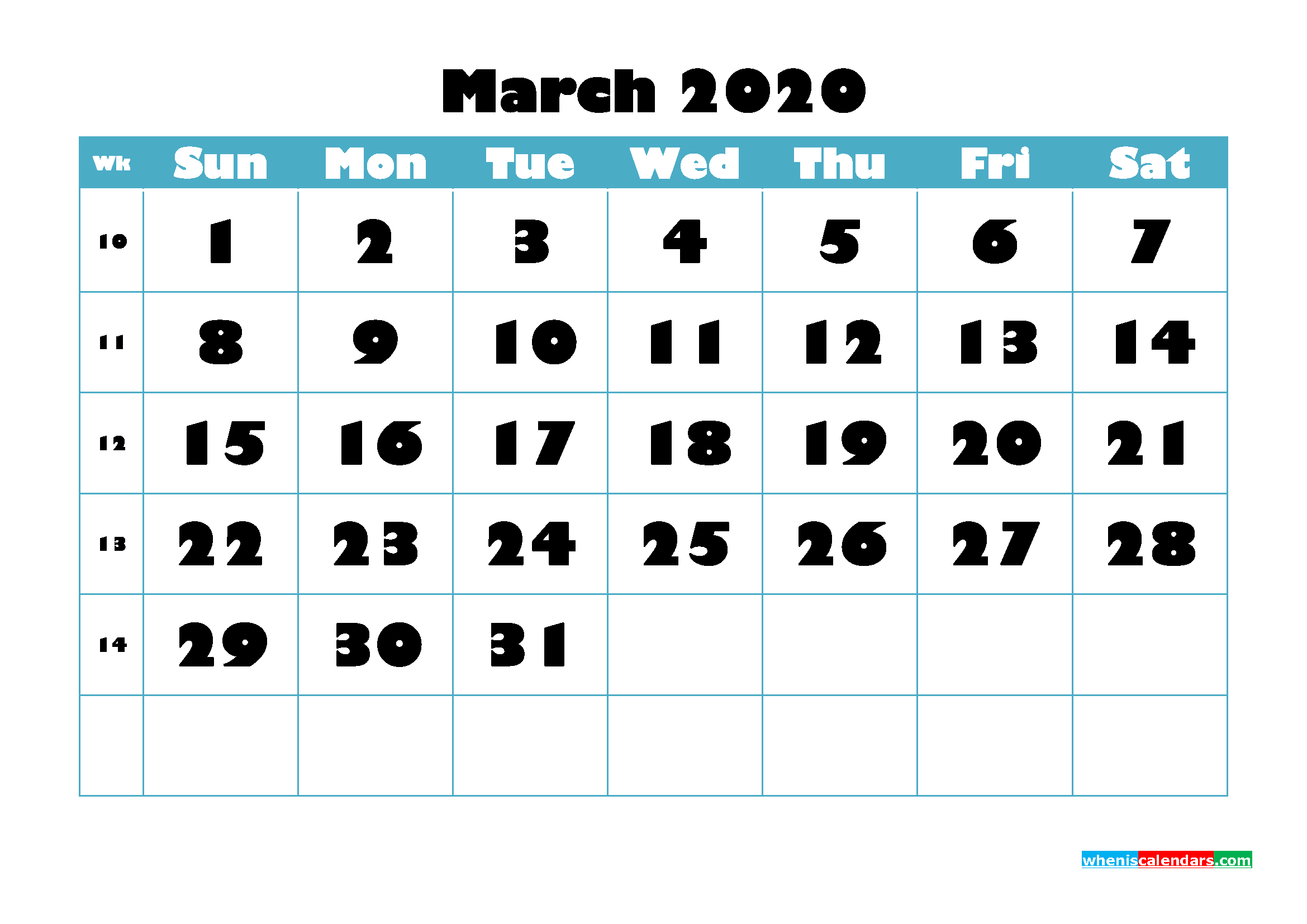 Free Blank Calendar March 2020 Printable - No.m20b759