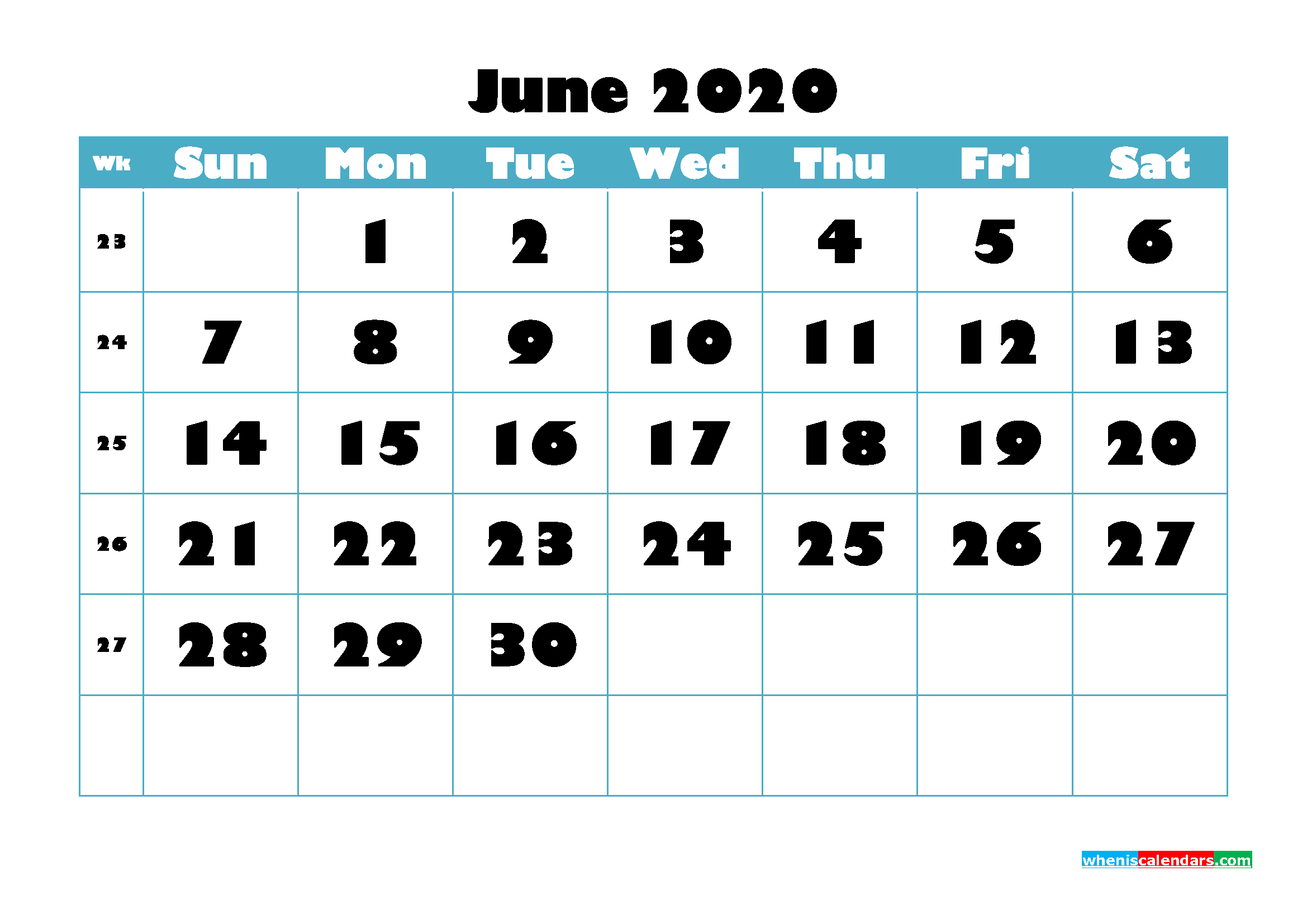 Free Blank Calendar June 2020 Printable - No.m20b762