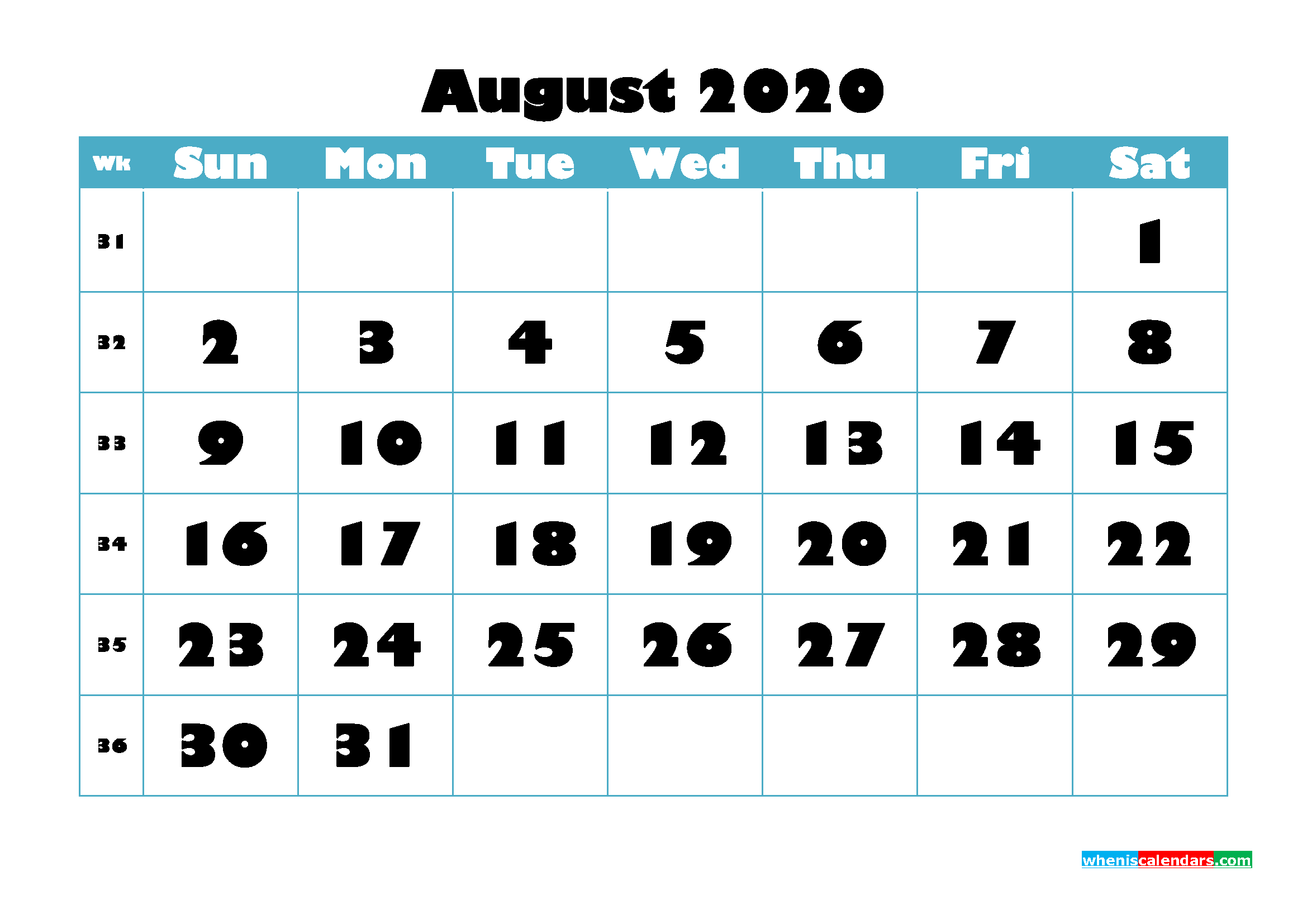 Free Blank Calendar August 2020 Printable - No.m20b764