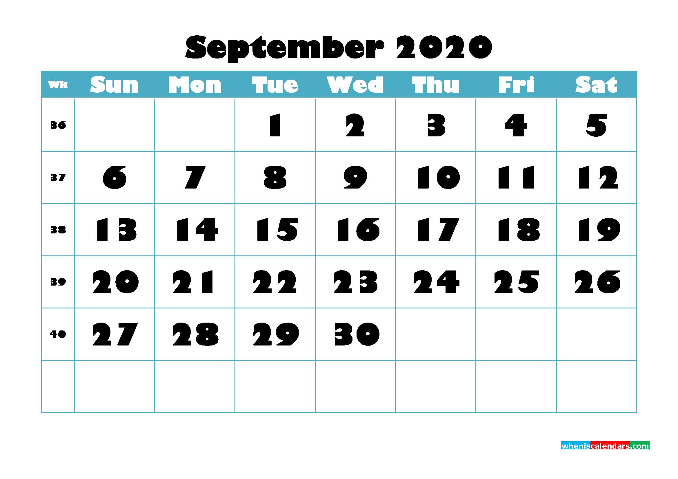 Free Blank Calendar September 2020 Printable - No.m20b765