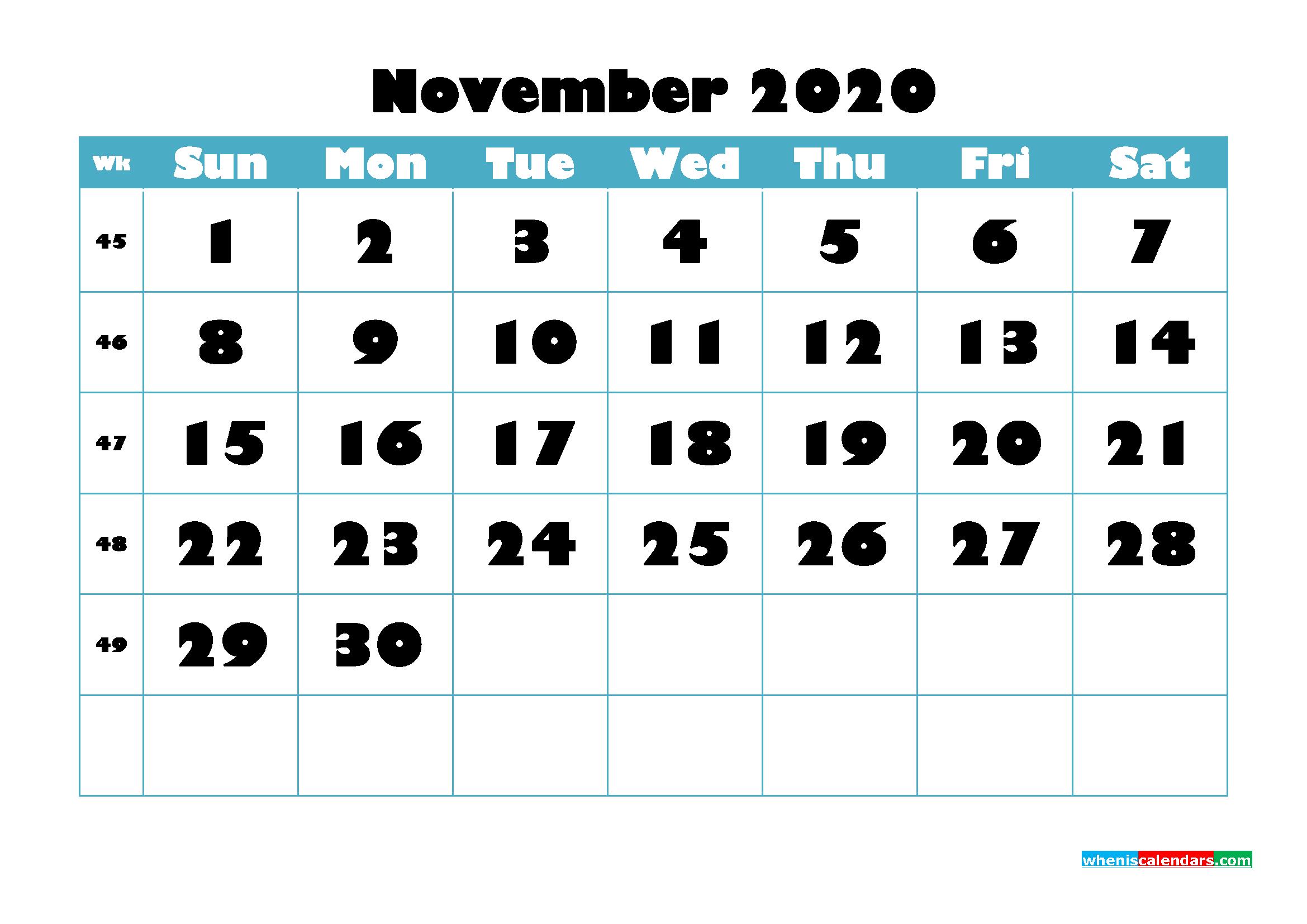 Free Blank Calendar November 2020 Printable - No.m20b767