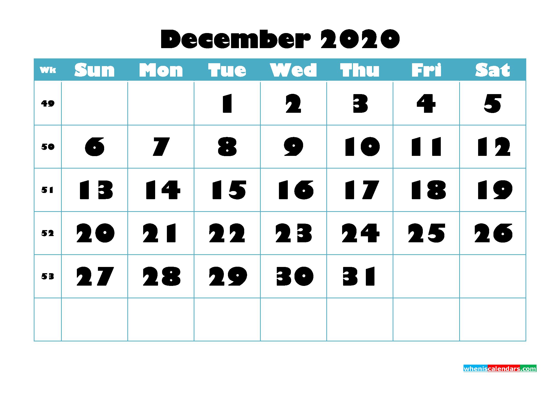 Free Blank Calendar December 2020 Printable - No.m20b768