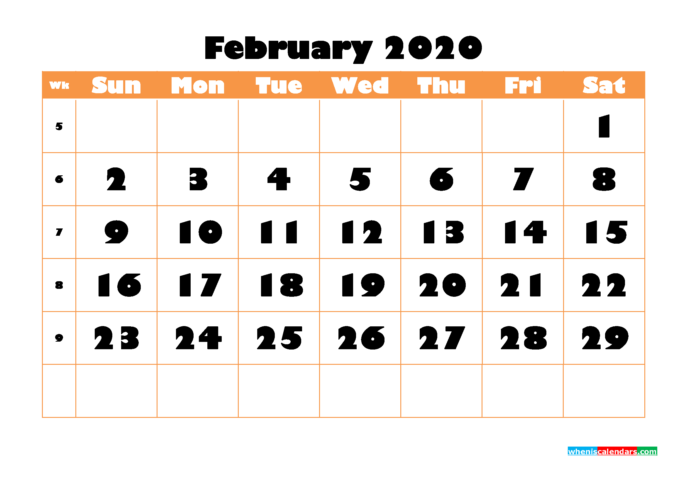 Blank February 2020 Calendar Printable - No.m20b770