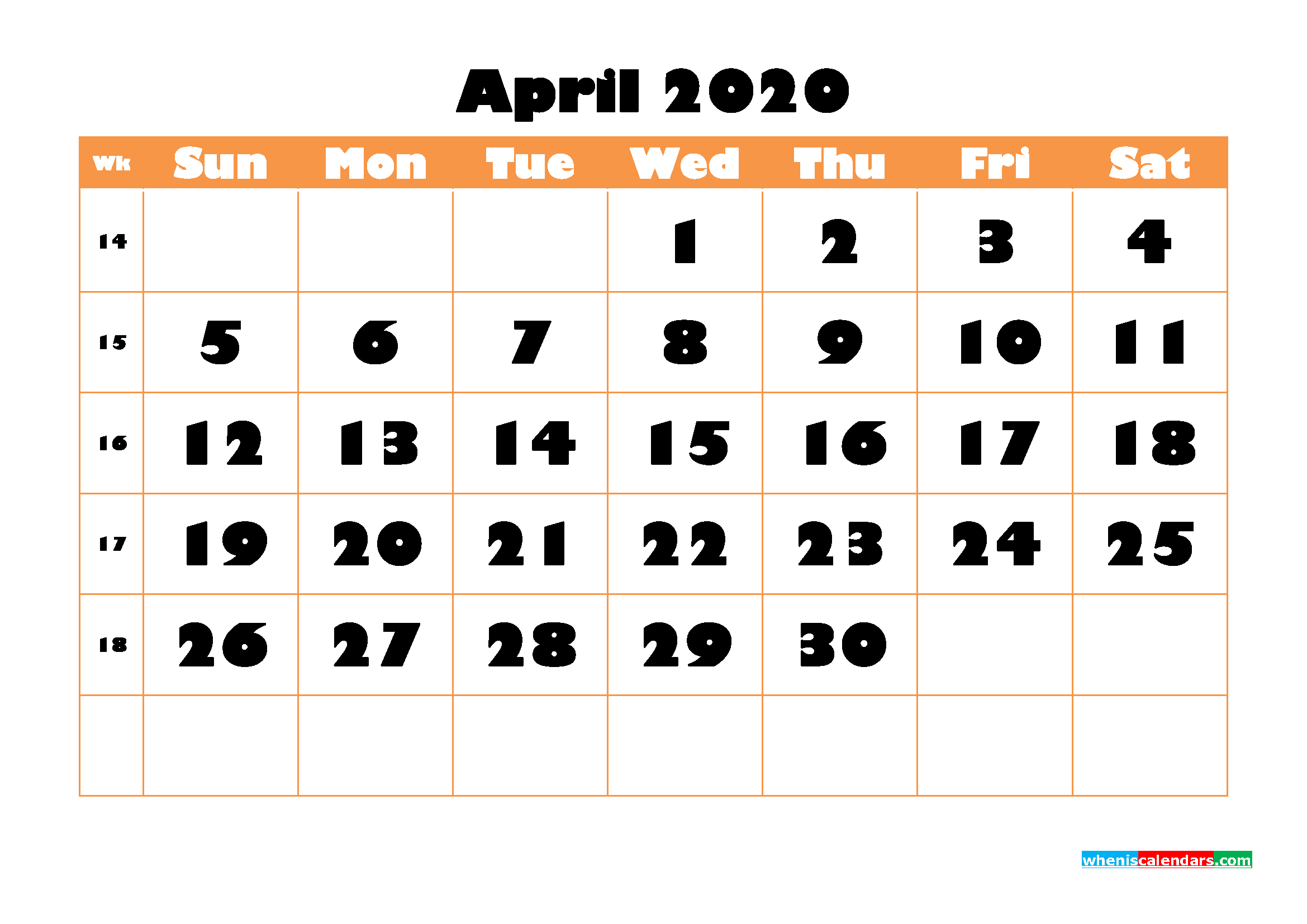 Blank April 2020 Calendar Printable - No.m20b772