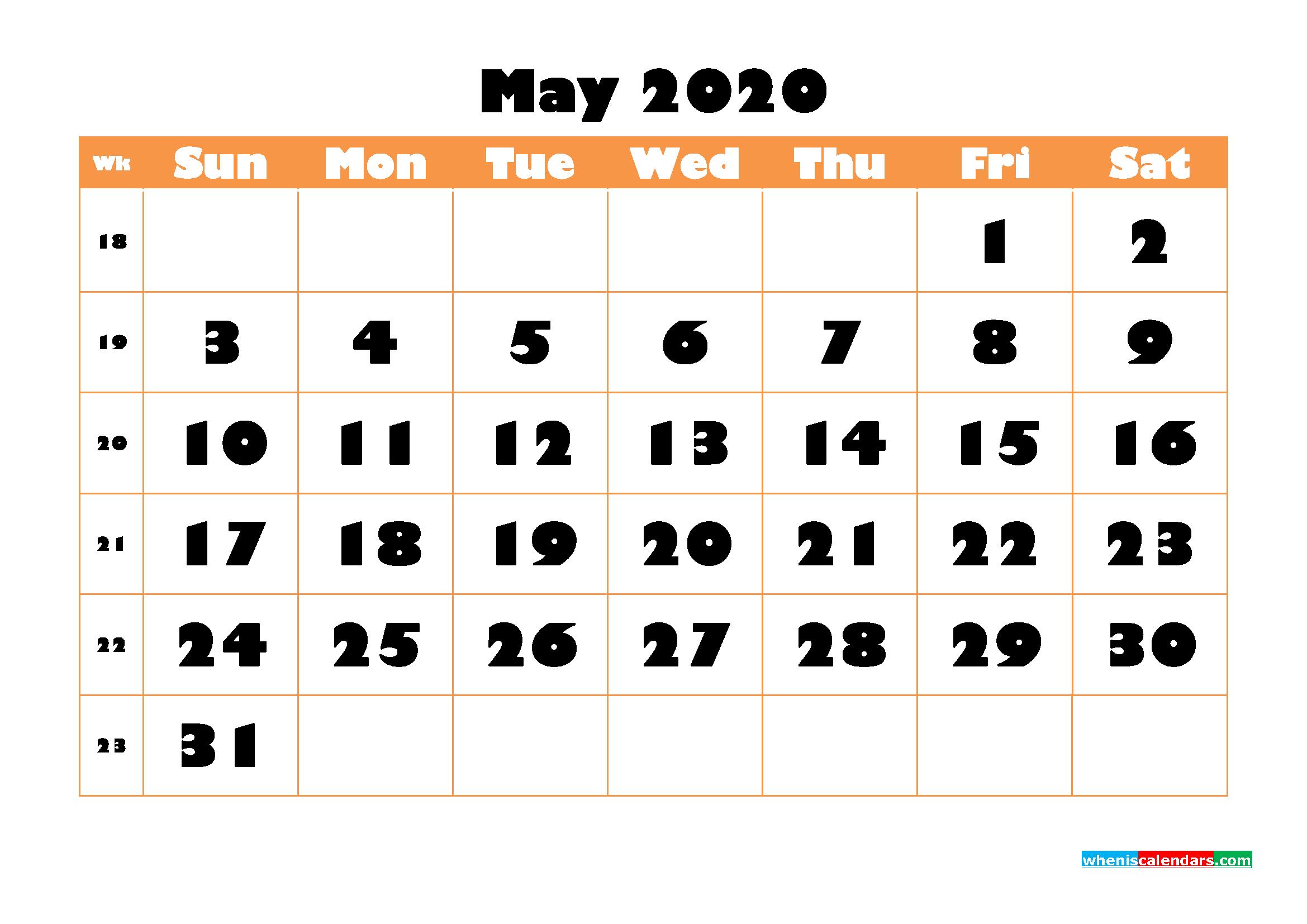Blank May 2020 Calendar Printable - No.m20b773
