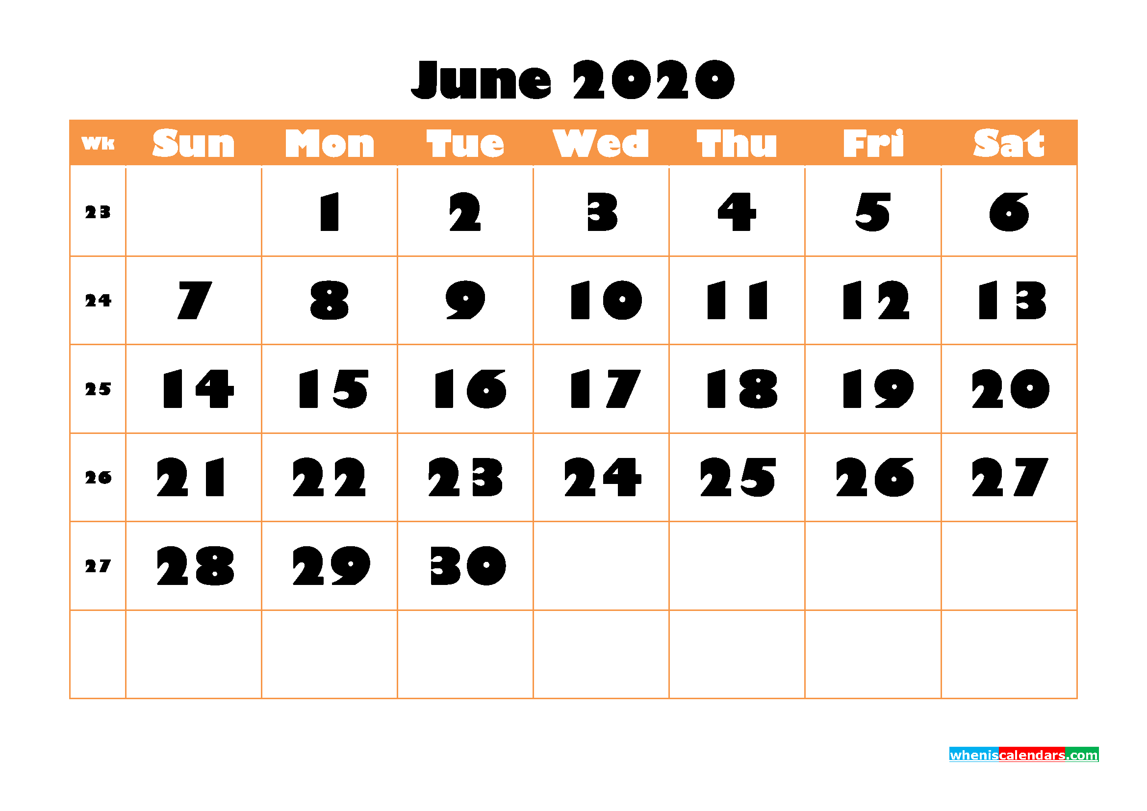 Blank June 2020 Calendar Printable - No.m20b774