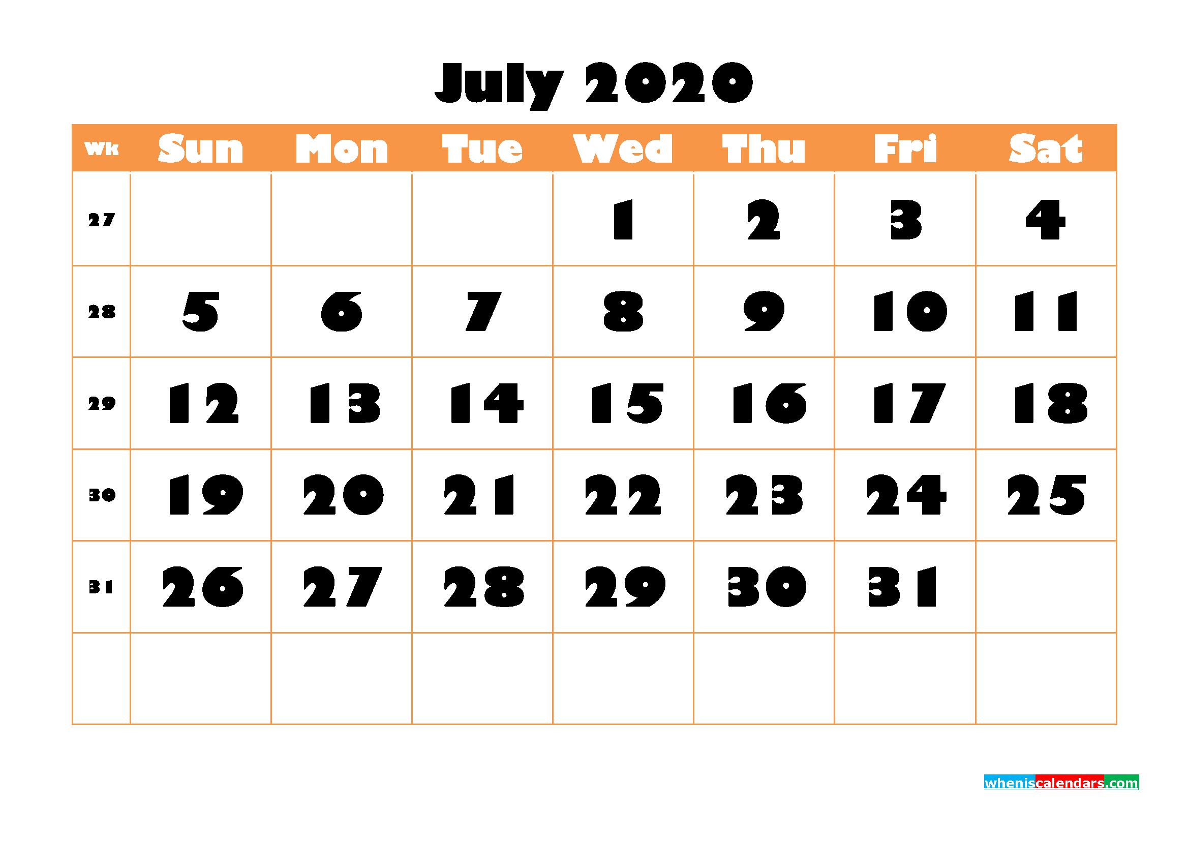 Blank July 2020 Calendar Printable - No.m20b775