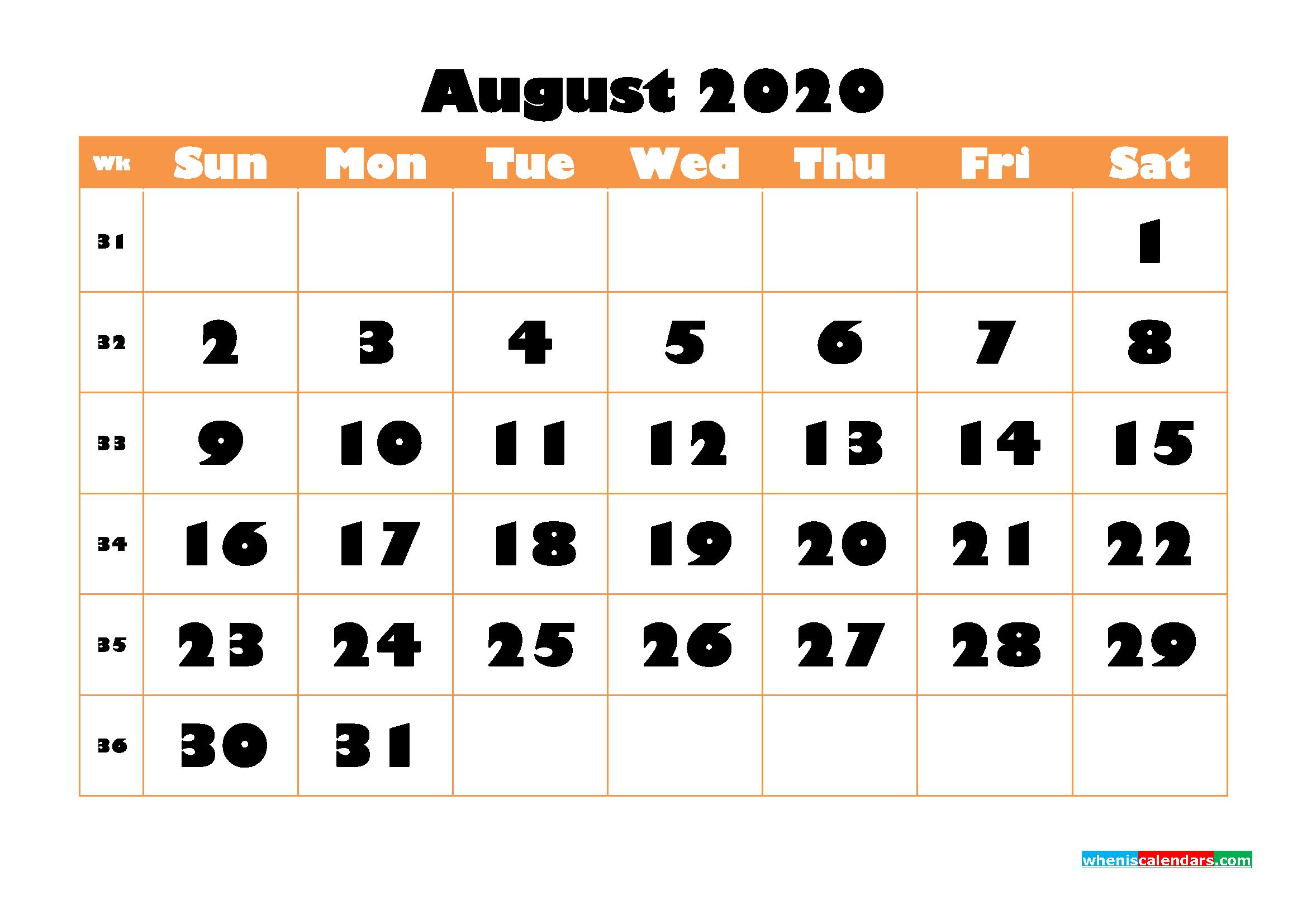 Blank August 2020 Calendar Printable - No.m20b776