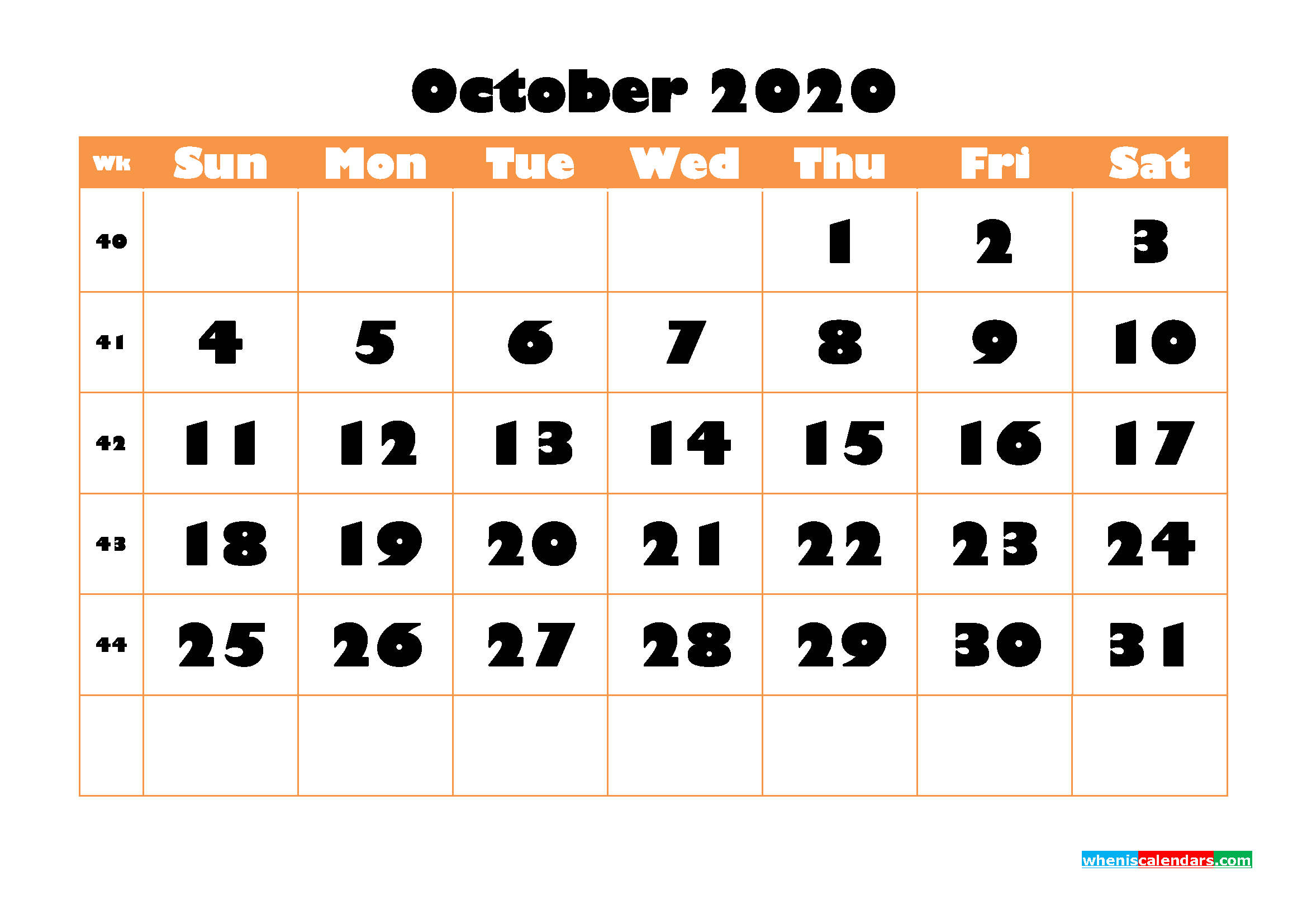 Blank October 2020 Calendar Printable Landscape Layout