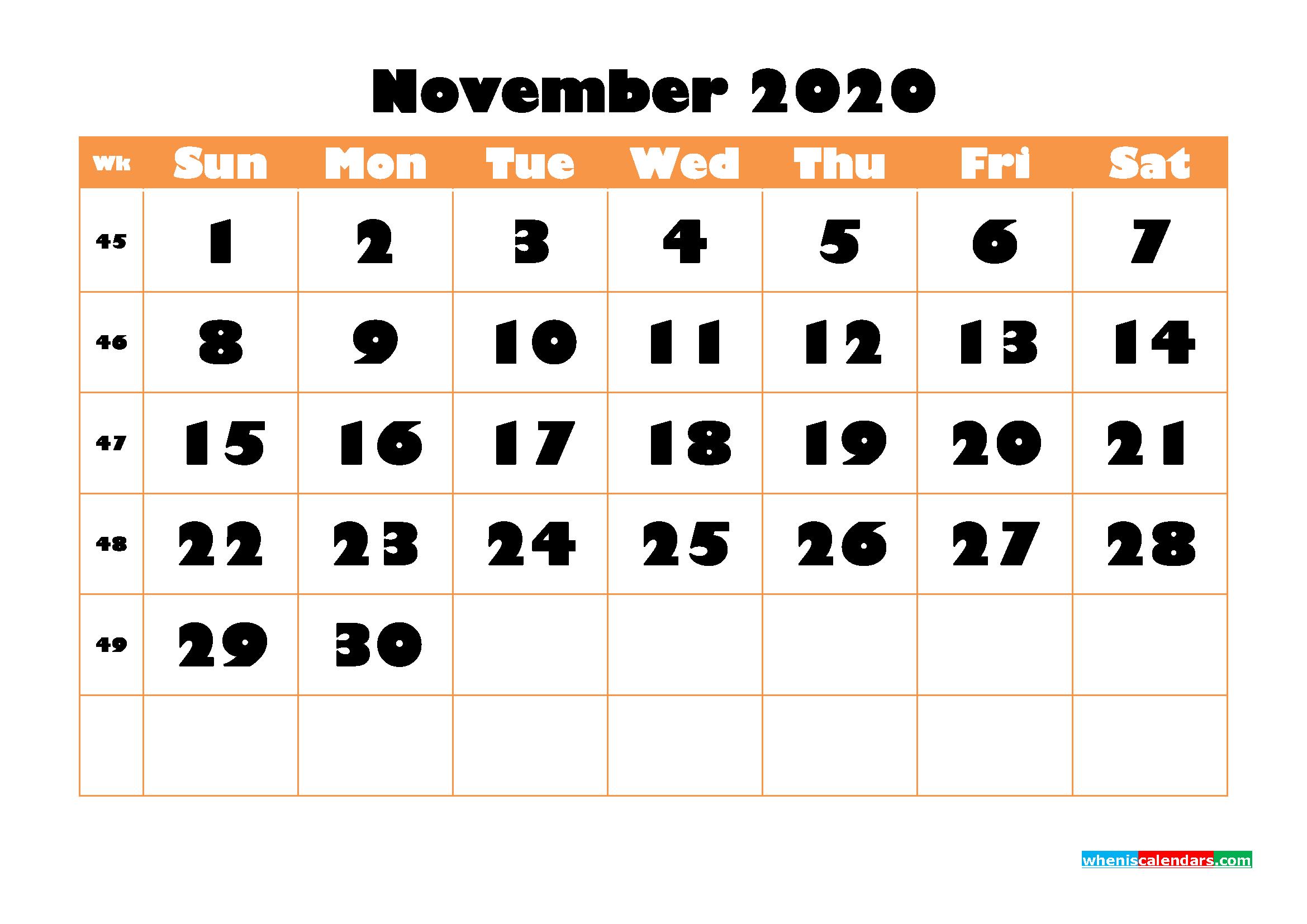 Blank November 2020 Calendar Printable - No.m20b779
