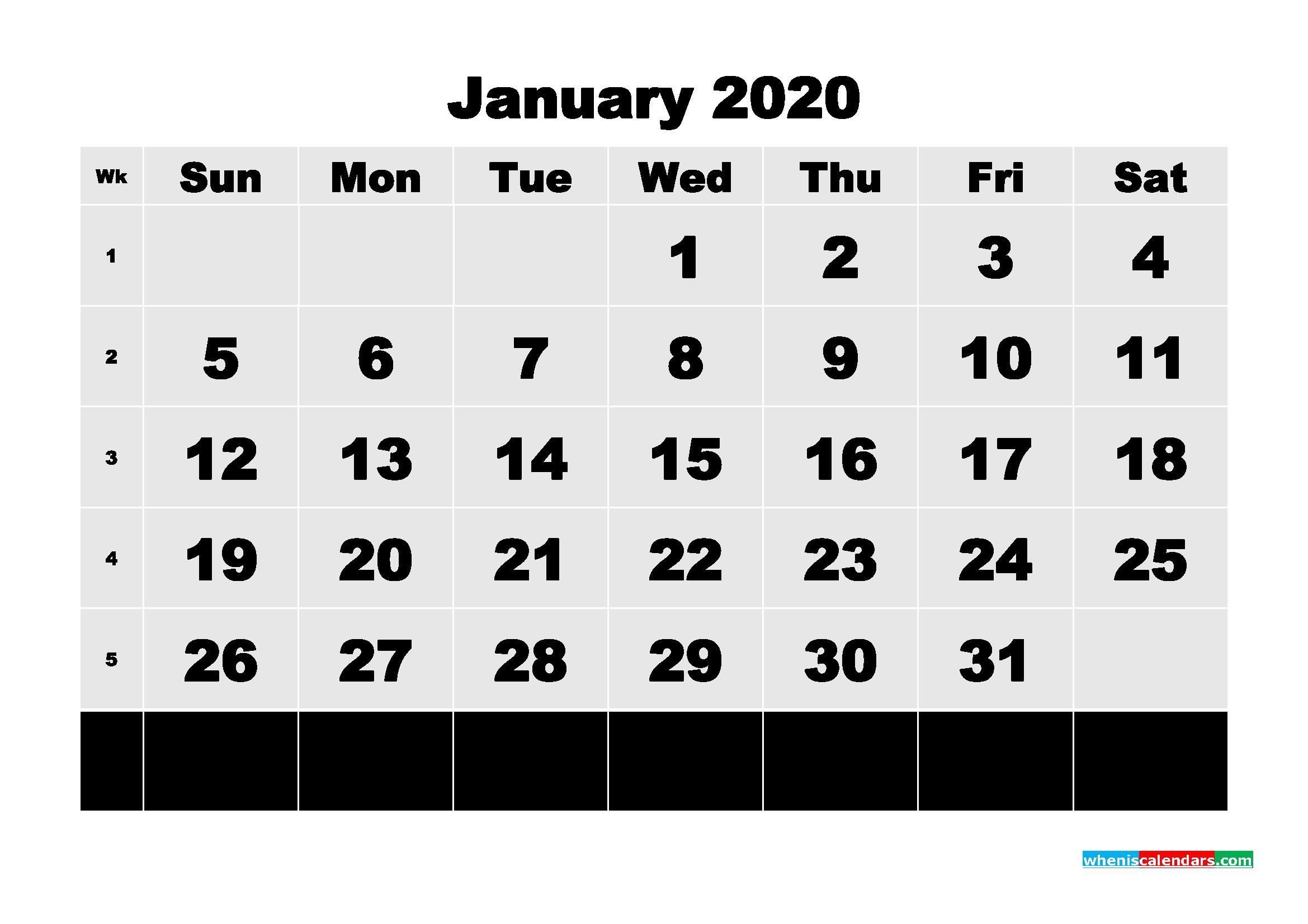 Free Printable Calendar January 2020 PDF, Word - No.m20b73