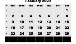 Printable 2020 Monthly Calendar with Week Numbers February