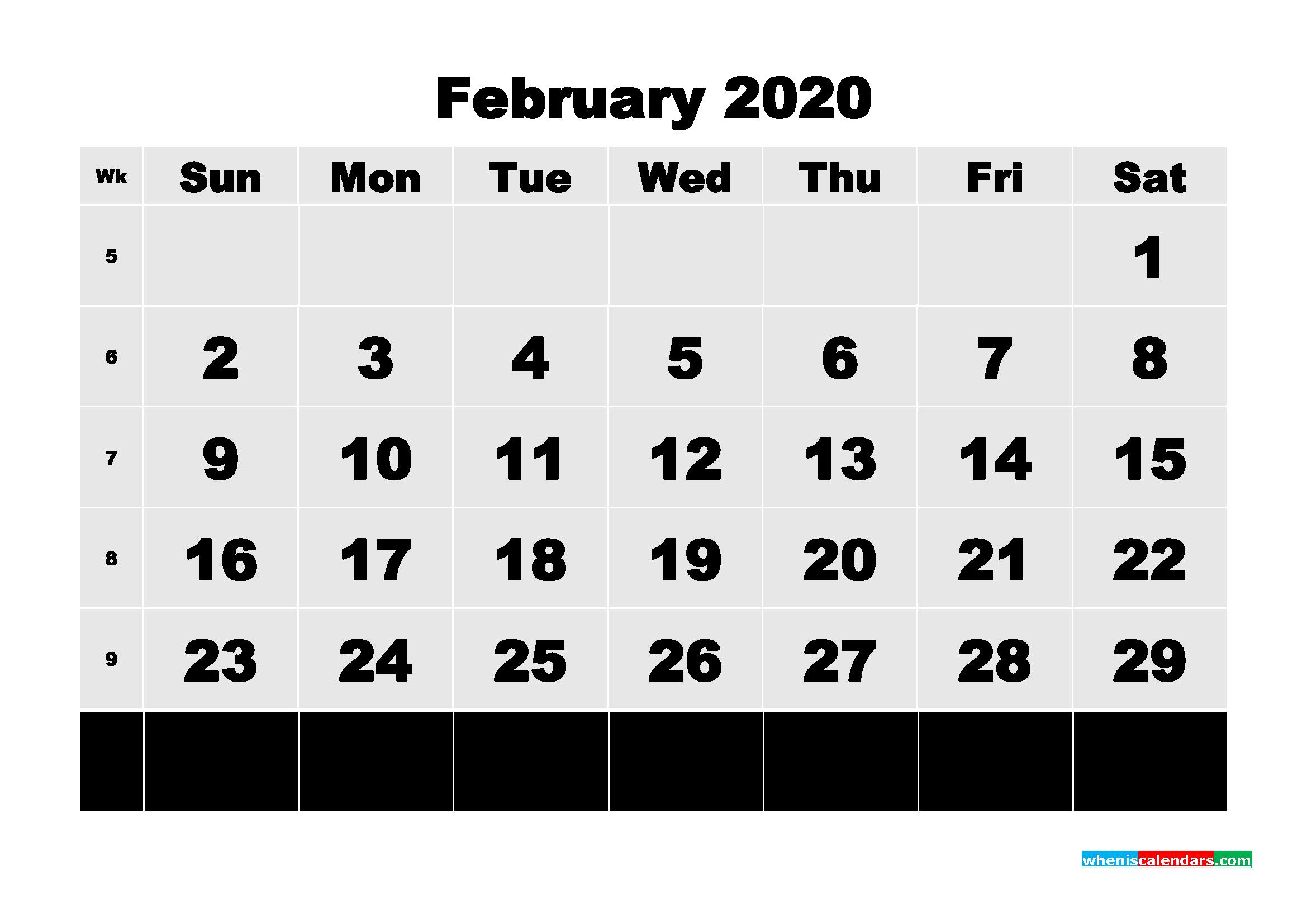 Free Printable Calendar February 2020 PDF, Word - No.m20b74