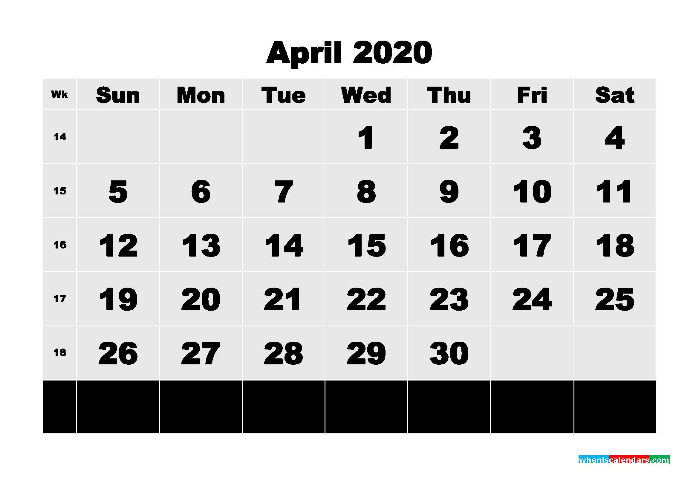 Free Printable Calendar April 2020 PDF, Word - No.m20b76