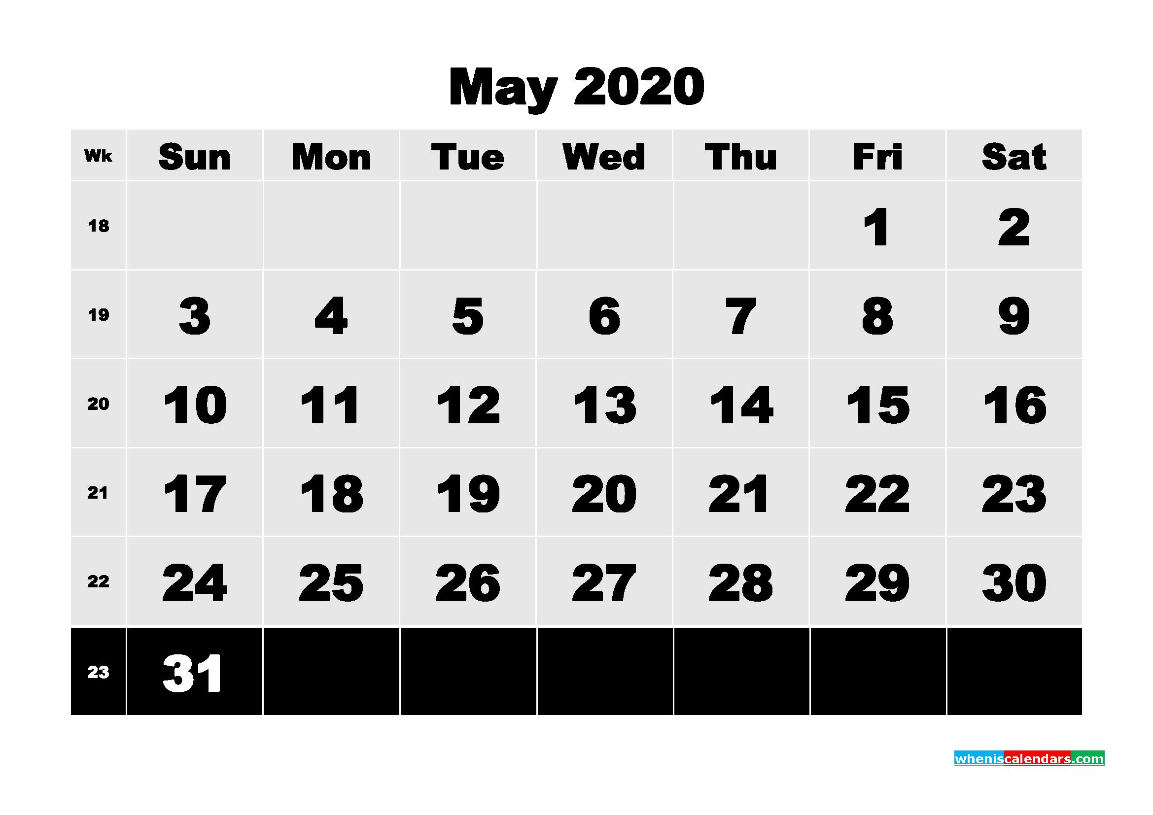 Free Printable Calendar May 2020 PDF, Word - No.m20b77