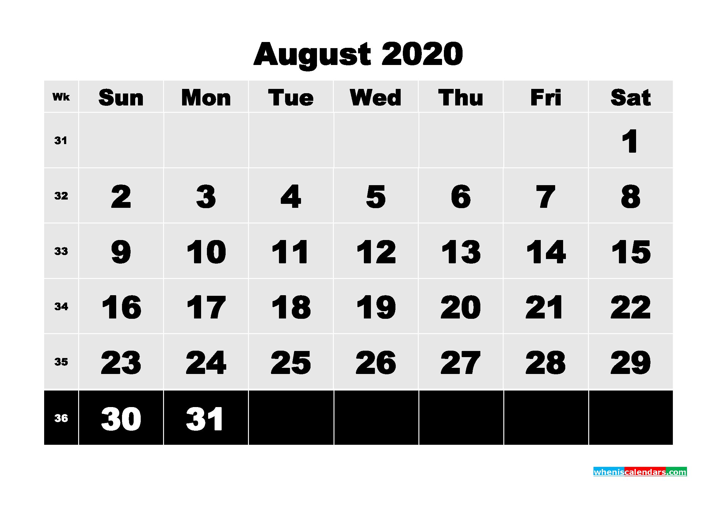 Free Printable Calendar August 2020 PDF, Word - No.m20b80